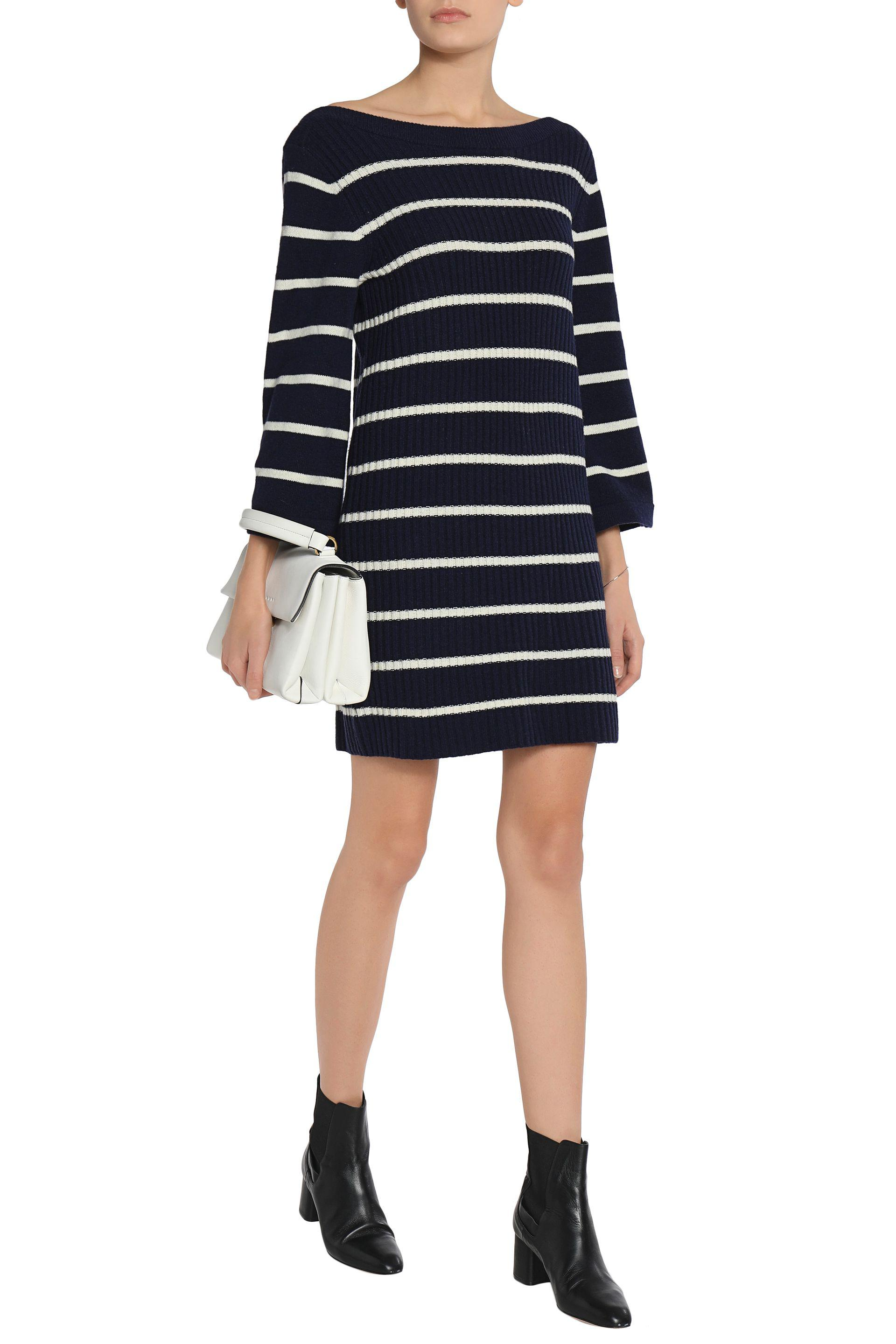 Sale Get To Buy Ganni Woman Ribbed Striped Merino Wool-blend Mini Dress Midnight Blue Size M Ganni Cheap Footaction Get To Buy Sale Online Wholesale Quality Wide Range Of Cheap Price ximL0YXC3R