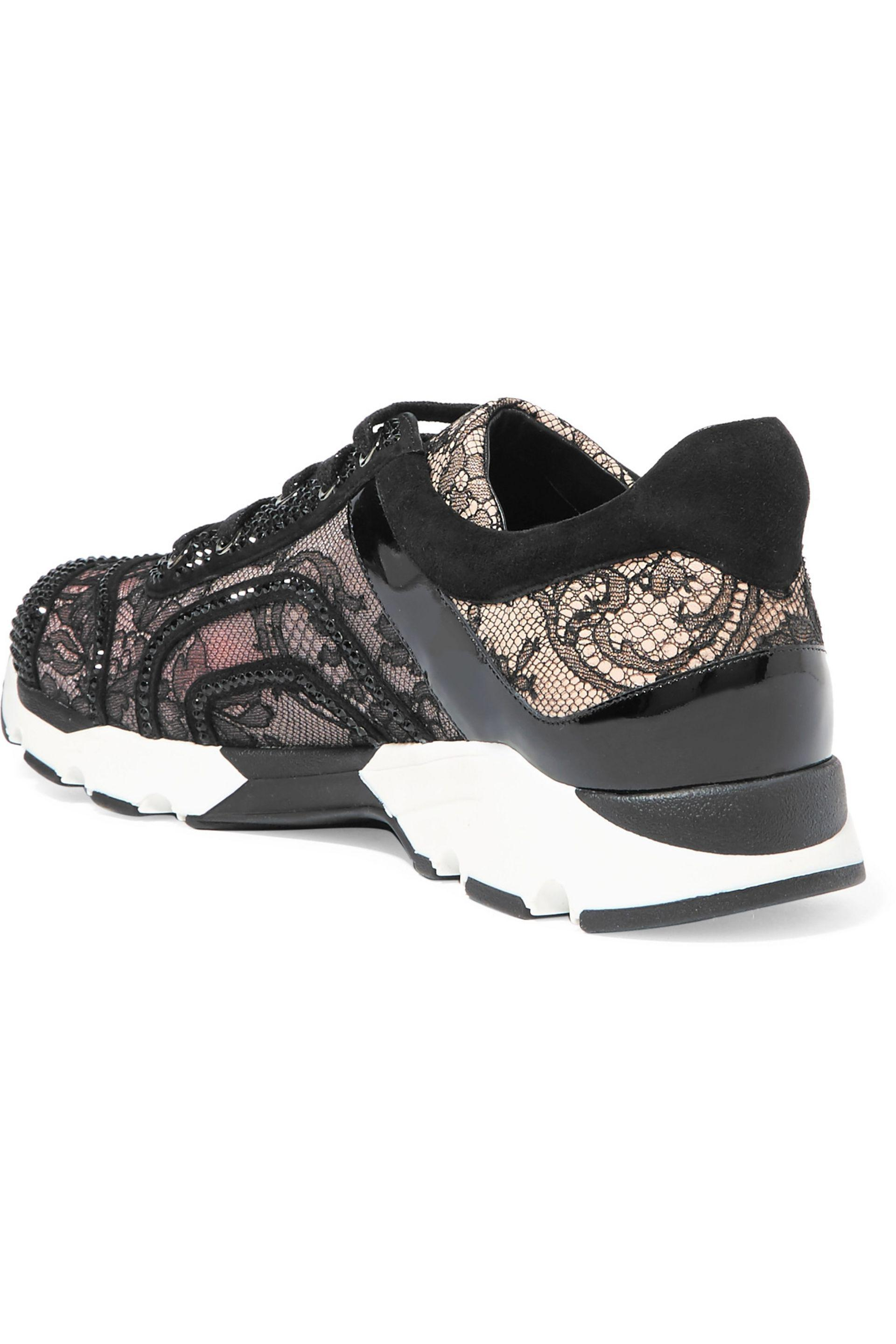 Rene Caovilla Patent Leather-paneled Embellished Lace And Suede Sneakers in Black