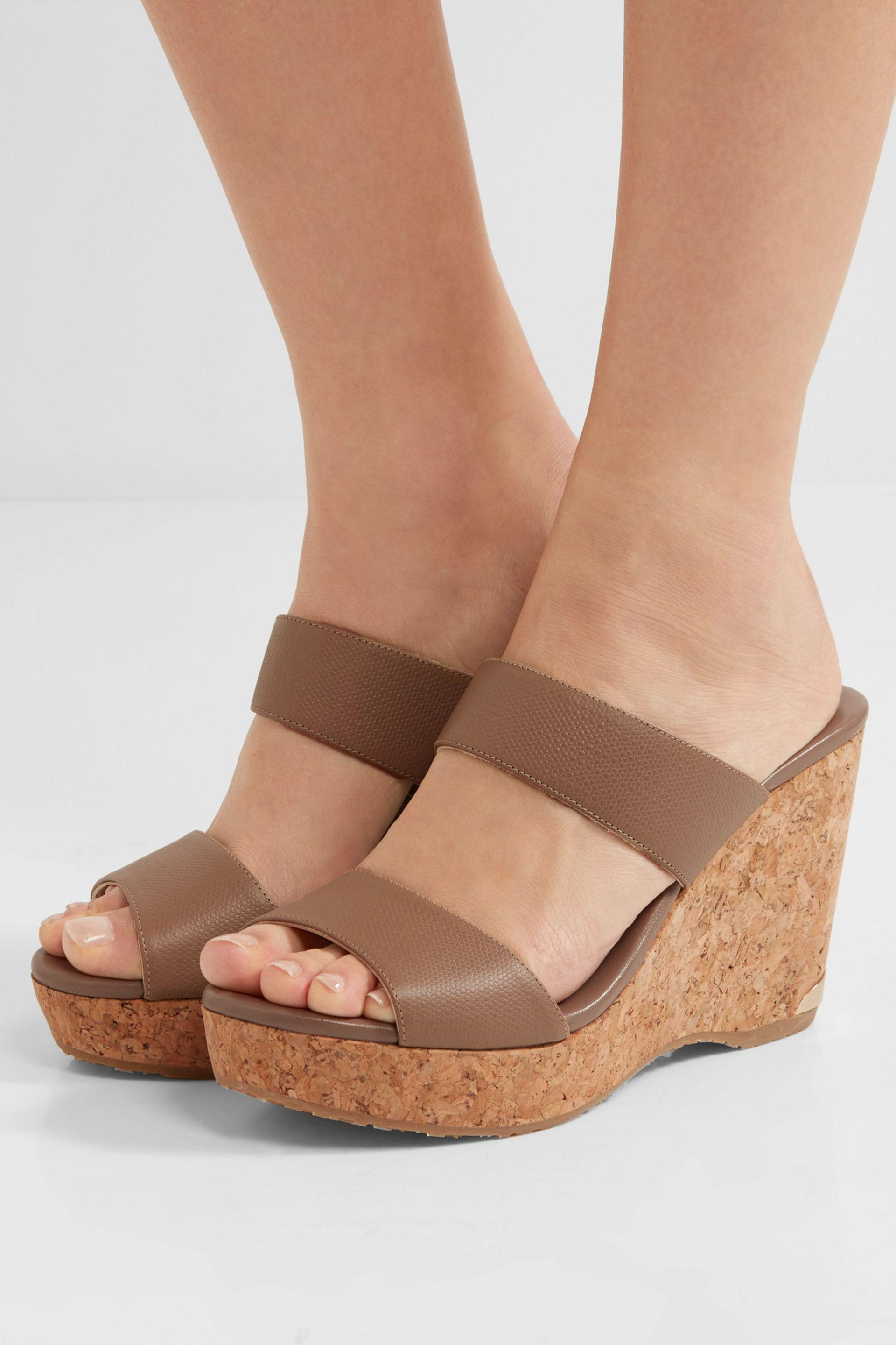 3e59805c16c9 Jimmy Choo Parker Textured-leather Wedge Sandals - Lyst