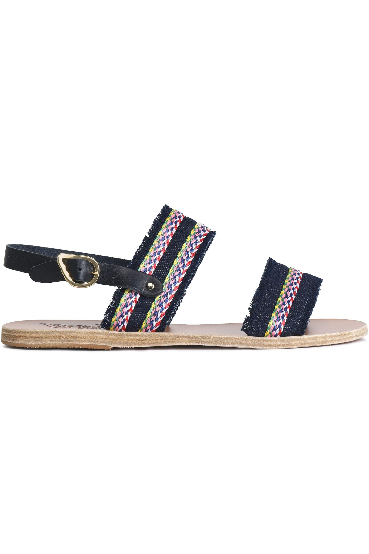 d11b26b9840c98 Ancient Greek Sandals. Women s Blue Dinami Raffia-trimmed Leather Slingback  Sandals