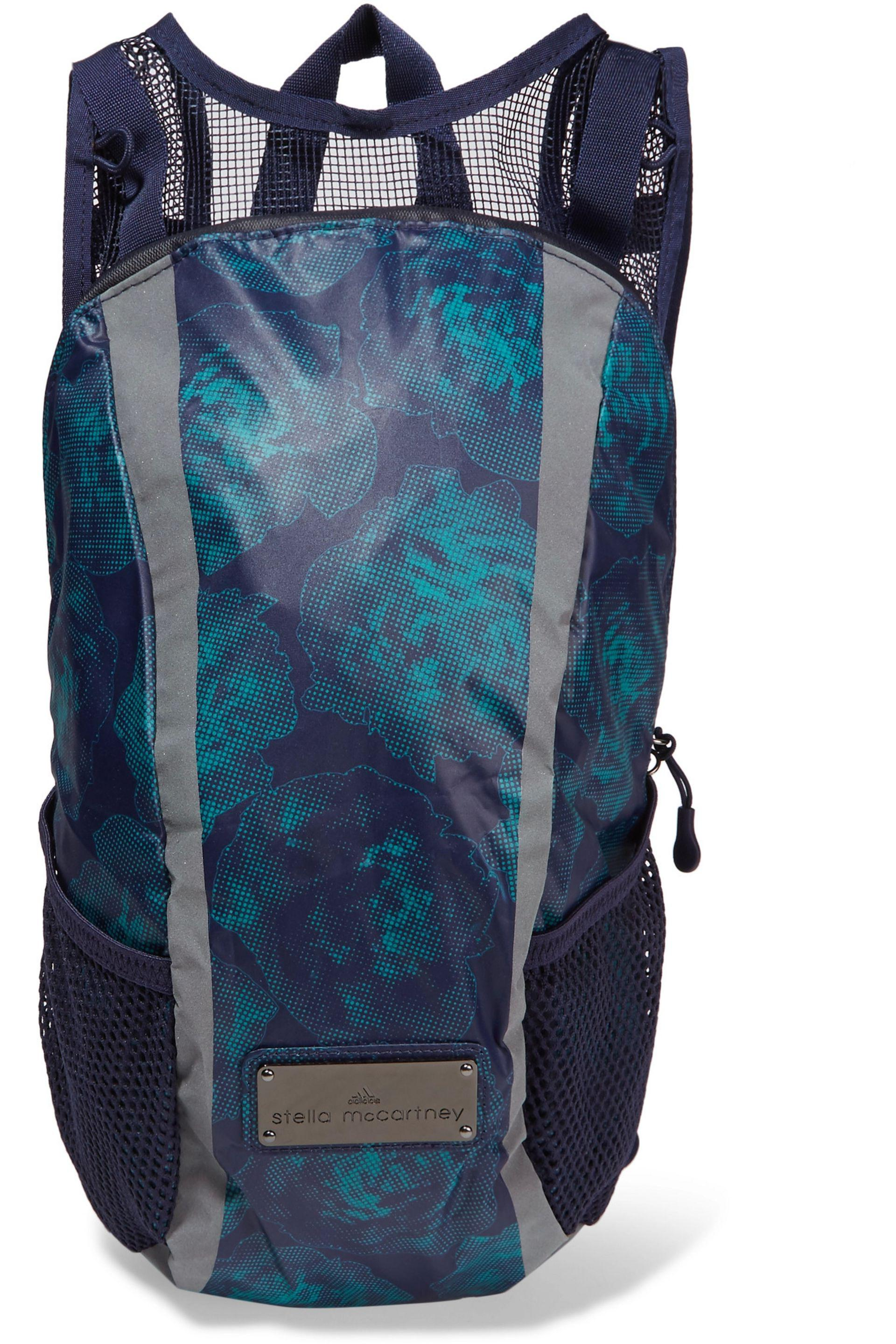 Adidas By Stella McCartney Womens Blue Printed Shell And Mesh Backpack