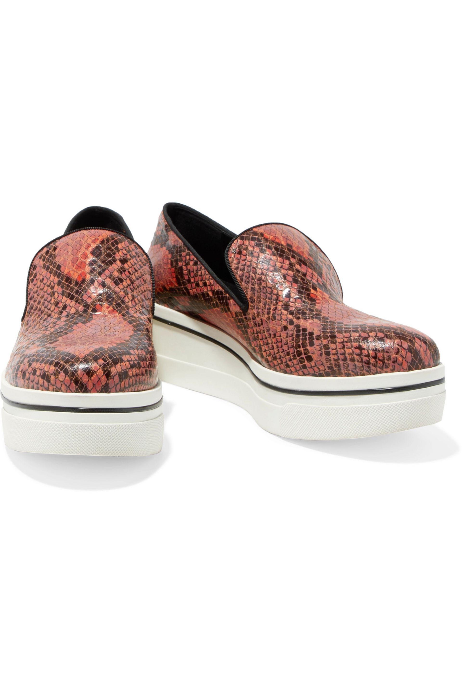 Stella McCartney Faux Snake-effect Leather Slip-on Sneakers in Orange