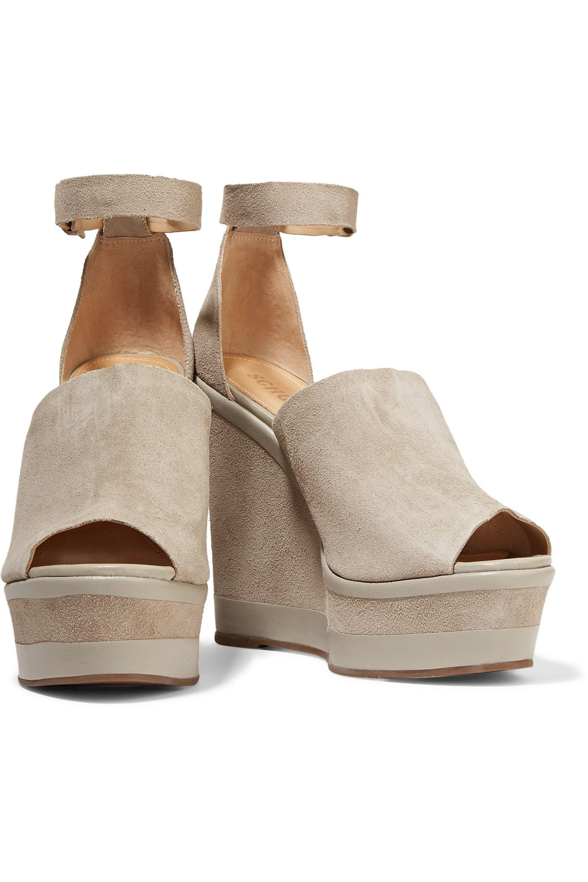 Schutz - Morlen Leather-trimmed Suede Wedge Sandals Light Gray - Lyst. View  Fullscreen