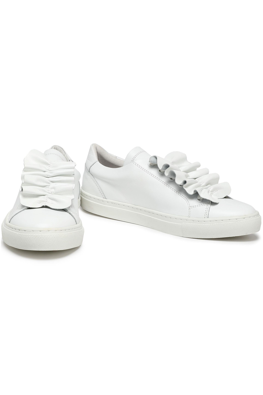 Claudie Pierlot Ruffled Leather Sneakers in White