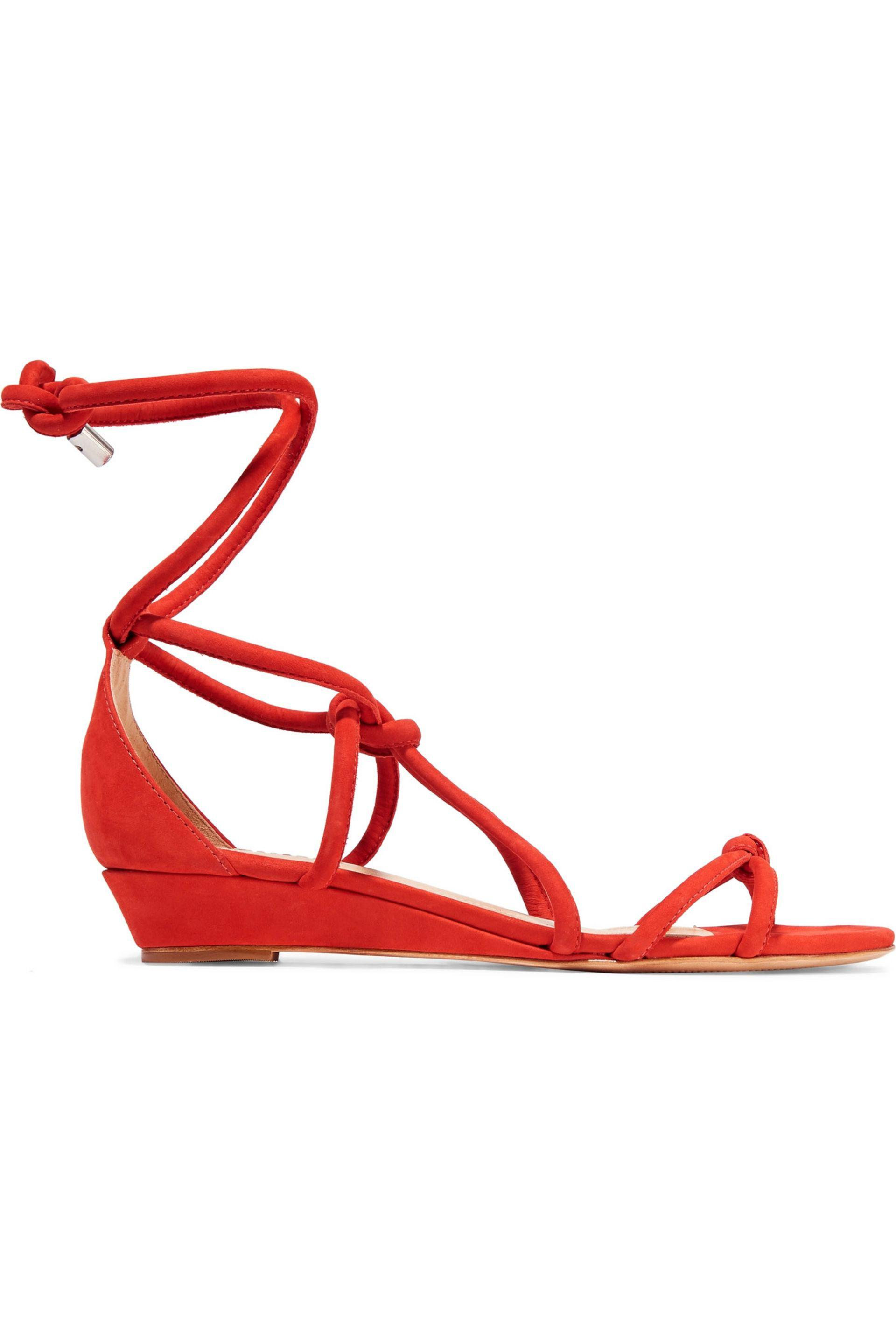 6a04f05ee72 Schutz Margarete Lace-up Suede Wedge Sandals in Red - Lyst