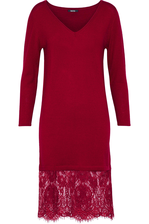 Raoul Woman Lace-paneled Merino Wool Dress Black Size XL Raoul 7ZI49nNVx