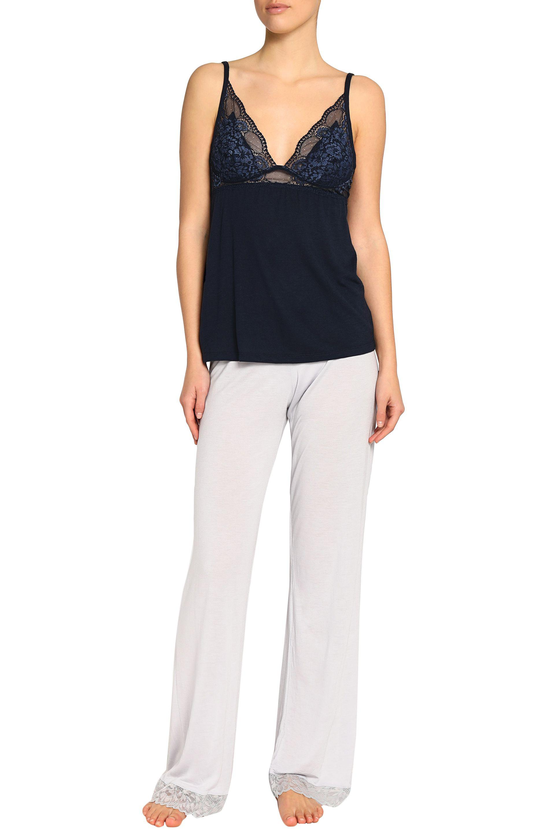abfdebcde Eberjey Noor Lace And Stretch-modal Jersey Camisole in Blue - Lyst