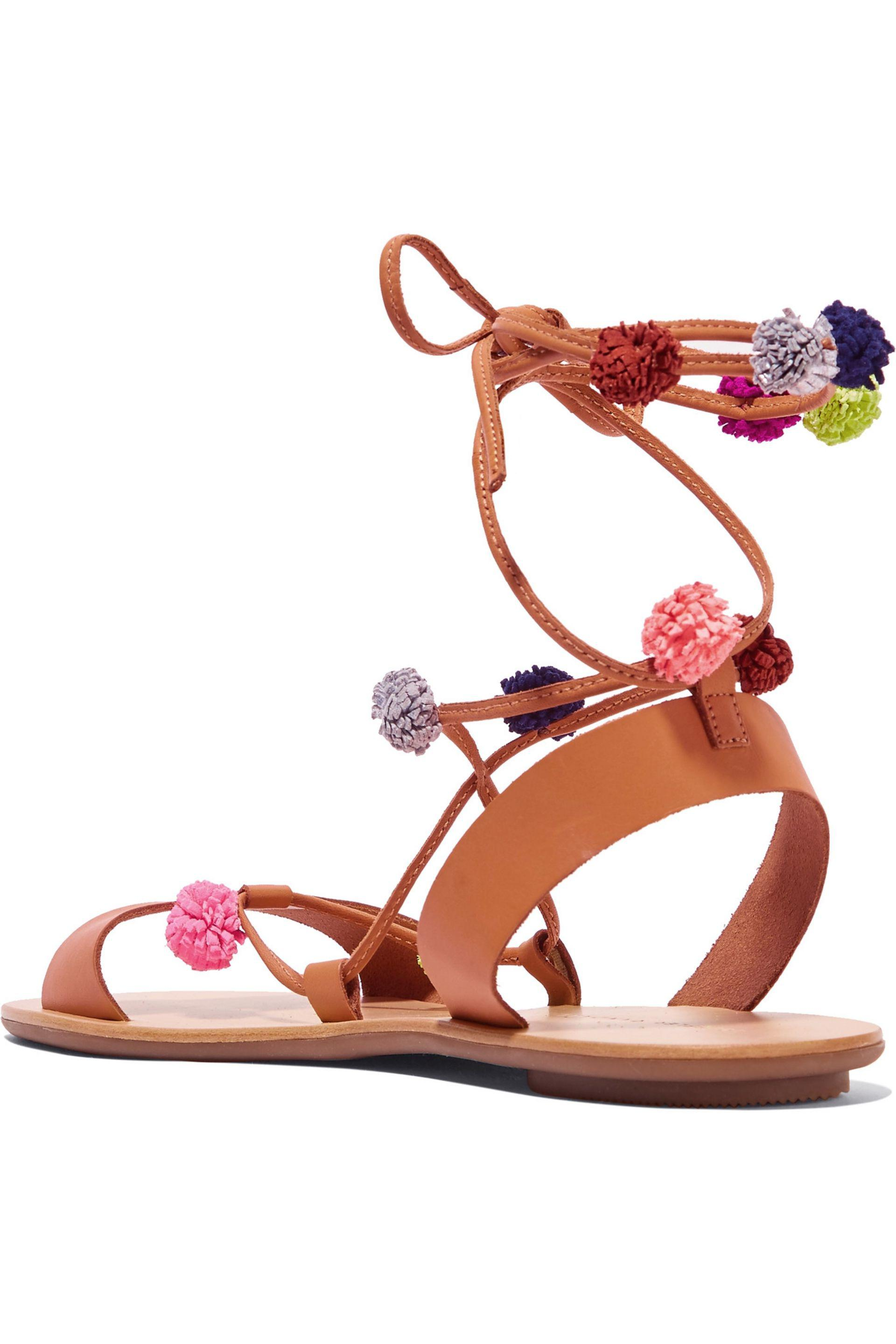 Angler Pom-pom Sandals Tan Jada free shipping explore clearance cheapest price sale geniue stockist cheap sale perfect In2Jb