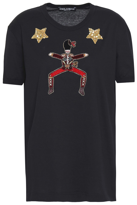 9d045d3960 Dolce & Gabbana. Women's Woman Embellished Appliquéd Cotton-jersey T-shirt  Black