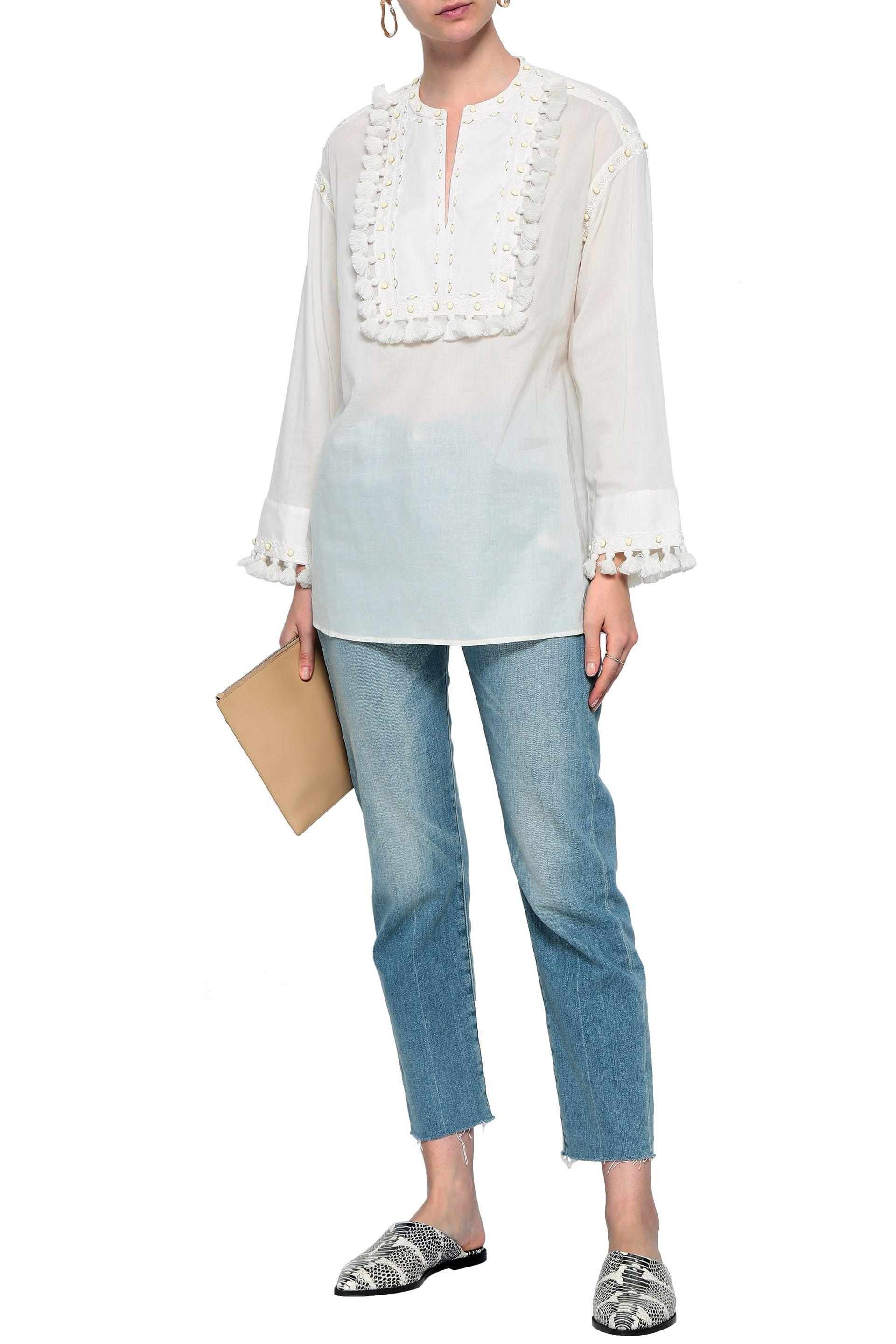 bb350971542 Tory Burch - White Tasseled Embroidered Cotton-gauze Top - Lyst. View  fullscreen