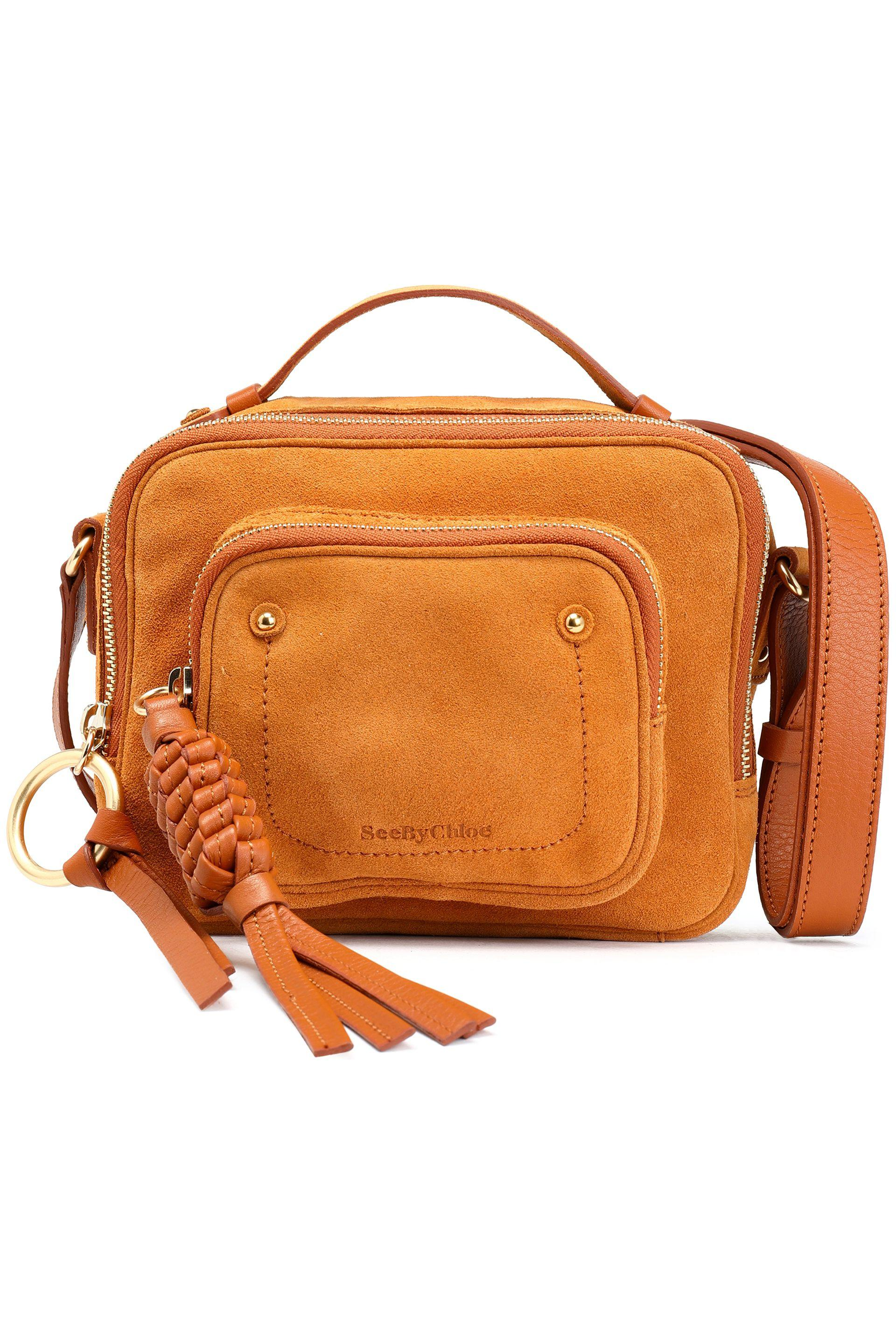 fbf06132 See By Chloé Orange See By Chloé Woman Patti Leather-trimmed Suede Shoulder  Bag Camel