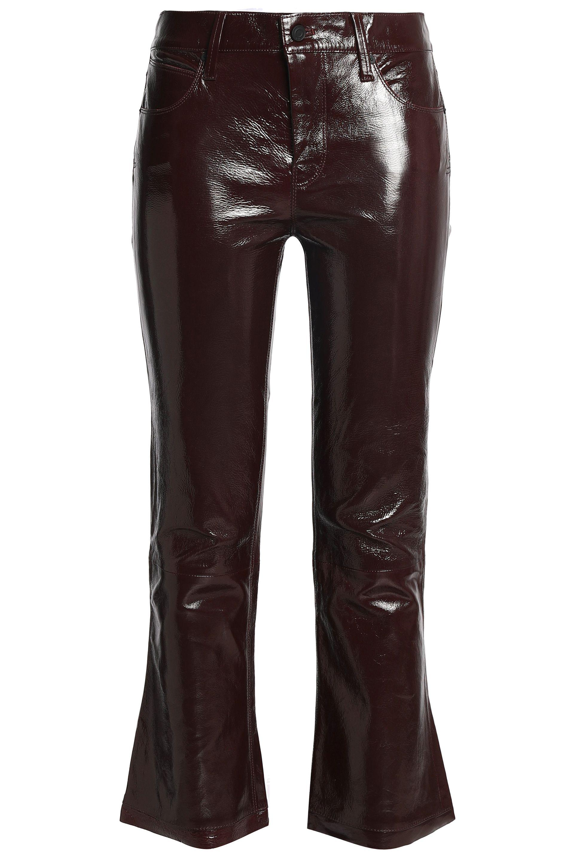 3fbaf15edf RTA Kiki Denim-trimmed Striped Leather Kick-flare Pants Merlot in ...