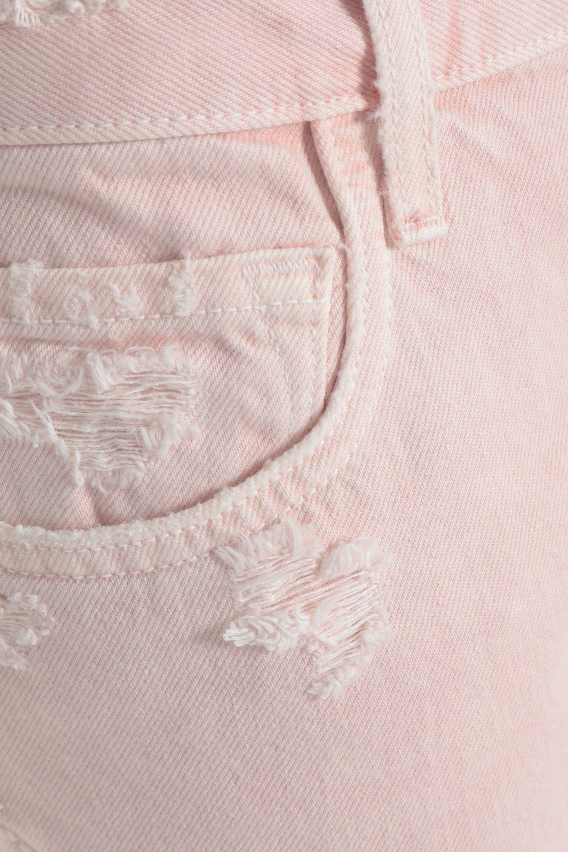 J Brand Denim Distressed High-rise Straight-leg Jeans Baby Pink