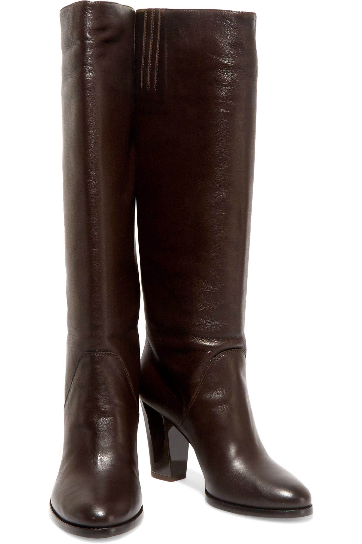 Jimmy Choo Marvel Leather Knee Boots in Dark Brown (Brown)