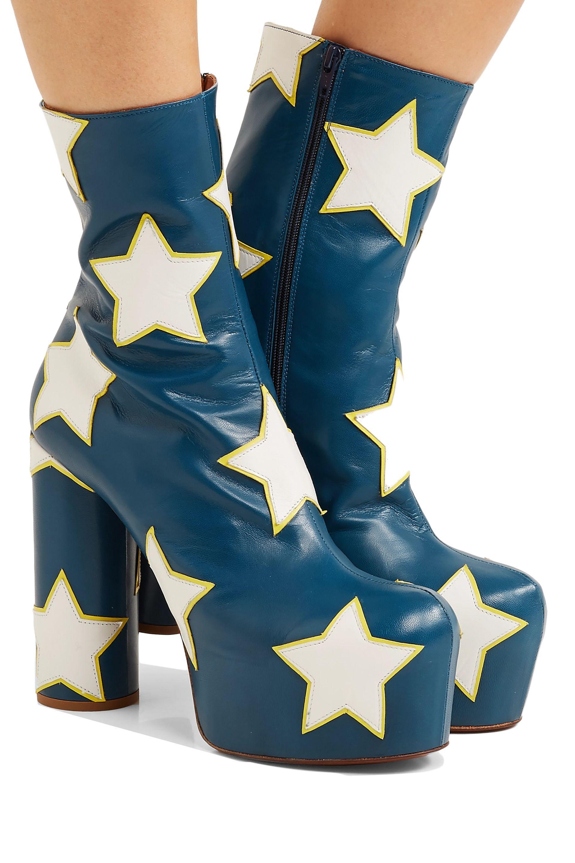 f58a76e8dffc8 Lyst - Vetements Woman Appliquéd Leather Platform Ankle Boots Storm ...