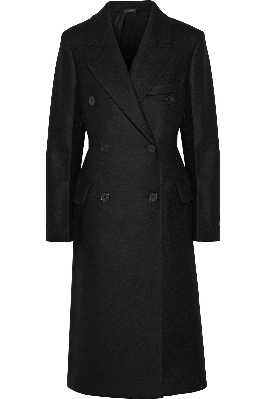 Jil Sander. Women's Black Double-breasted Wool-blend Felt Coat