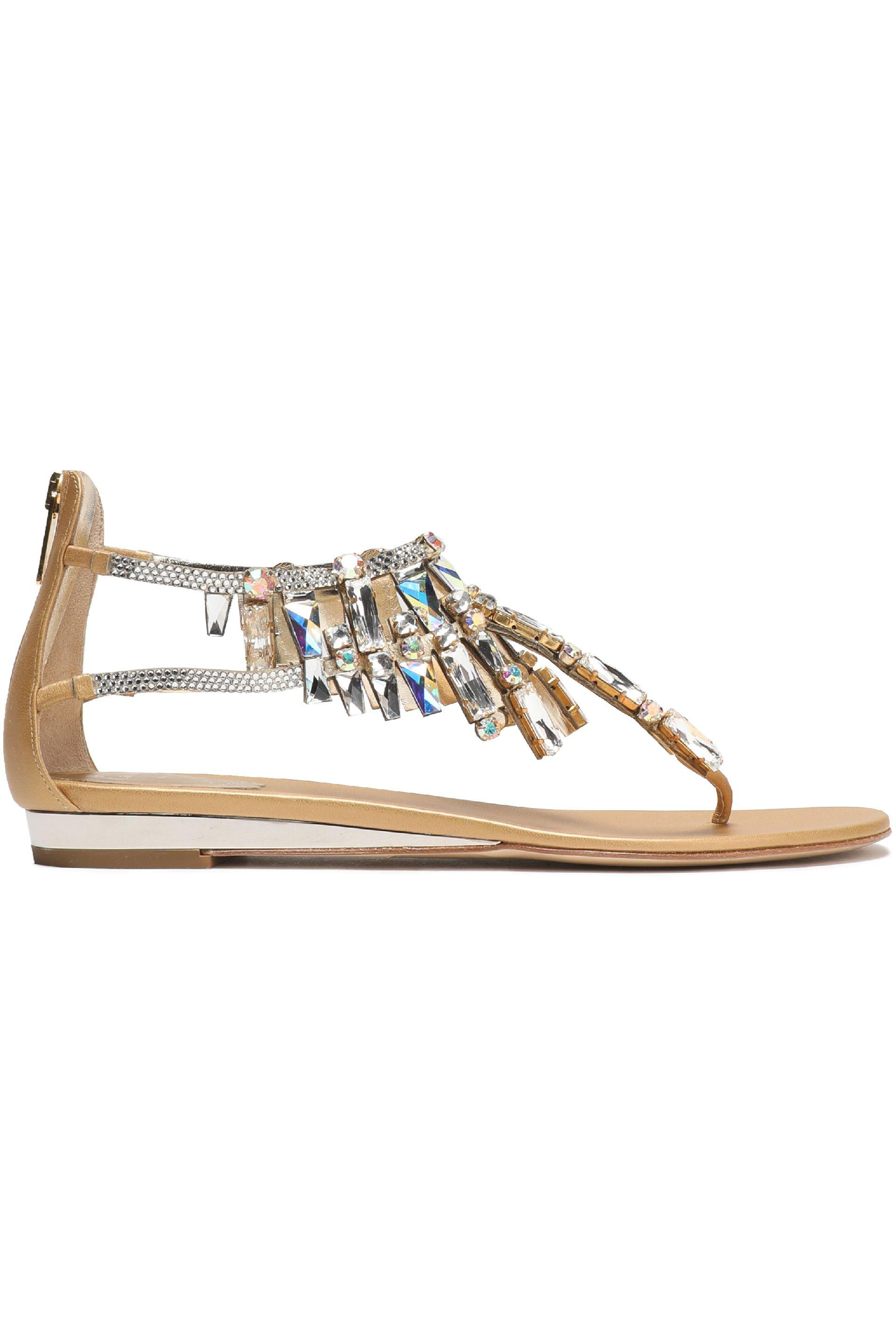 Crystal-embellished Metallic Leather Sandals - Silver Rene Caovilla