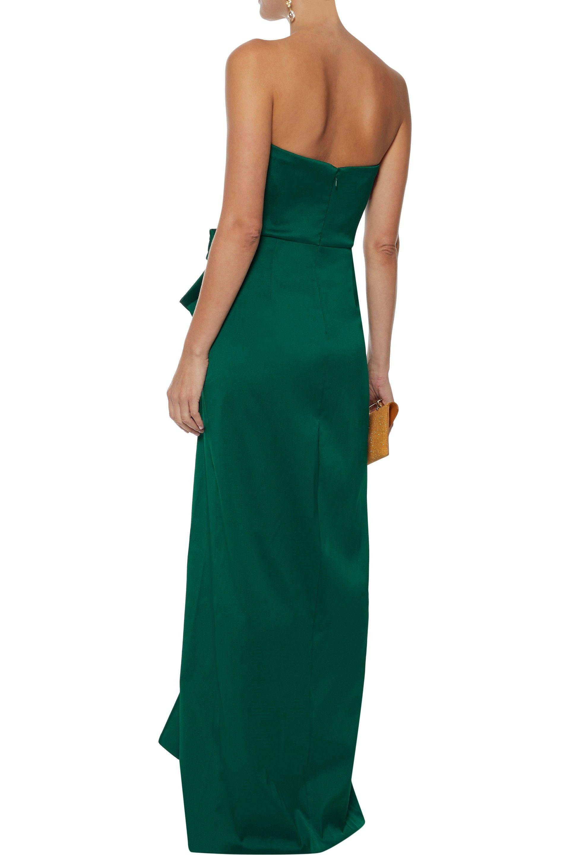 Badgley Mischka Synthetic Strapless Ruffled Satin-twill Gown Emerald in Green