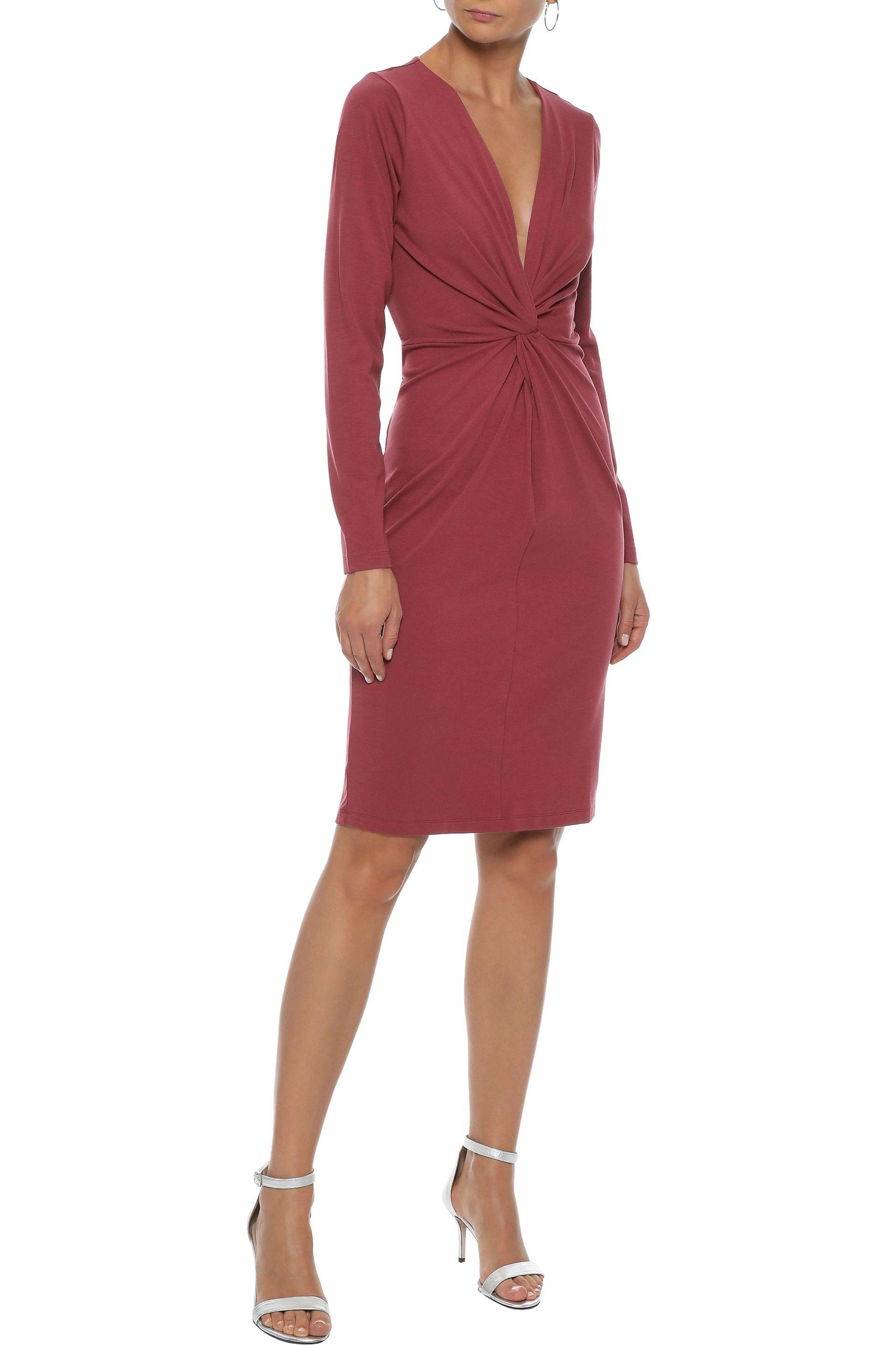 f16bd7f9372e79 Iris   Ink Woman Linda Twist-front Stretch-jersey Dress Claret in ...