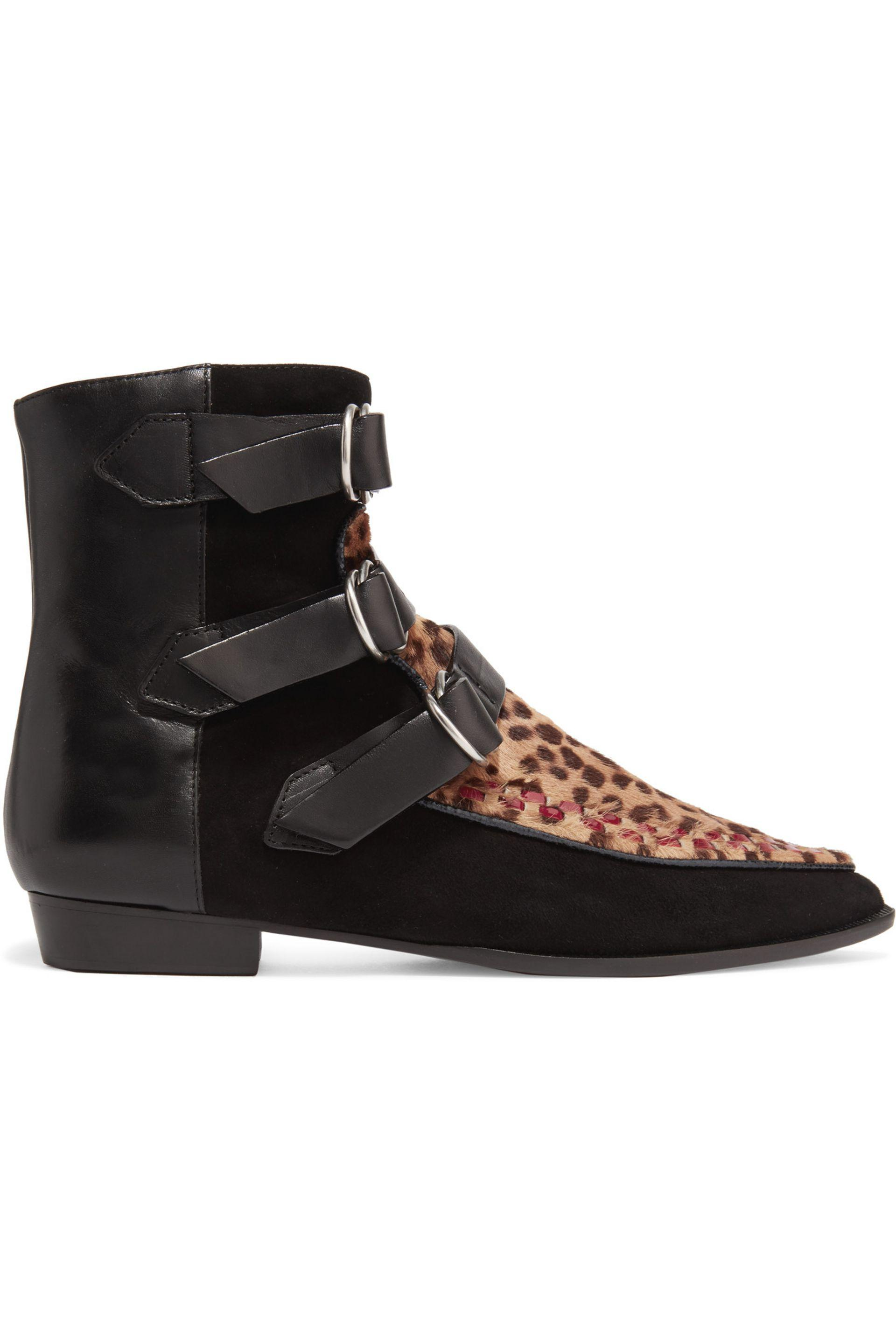 Isabel Marant Printed calf hair and suede ankle boots