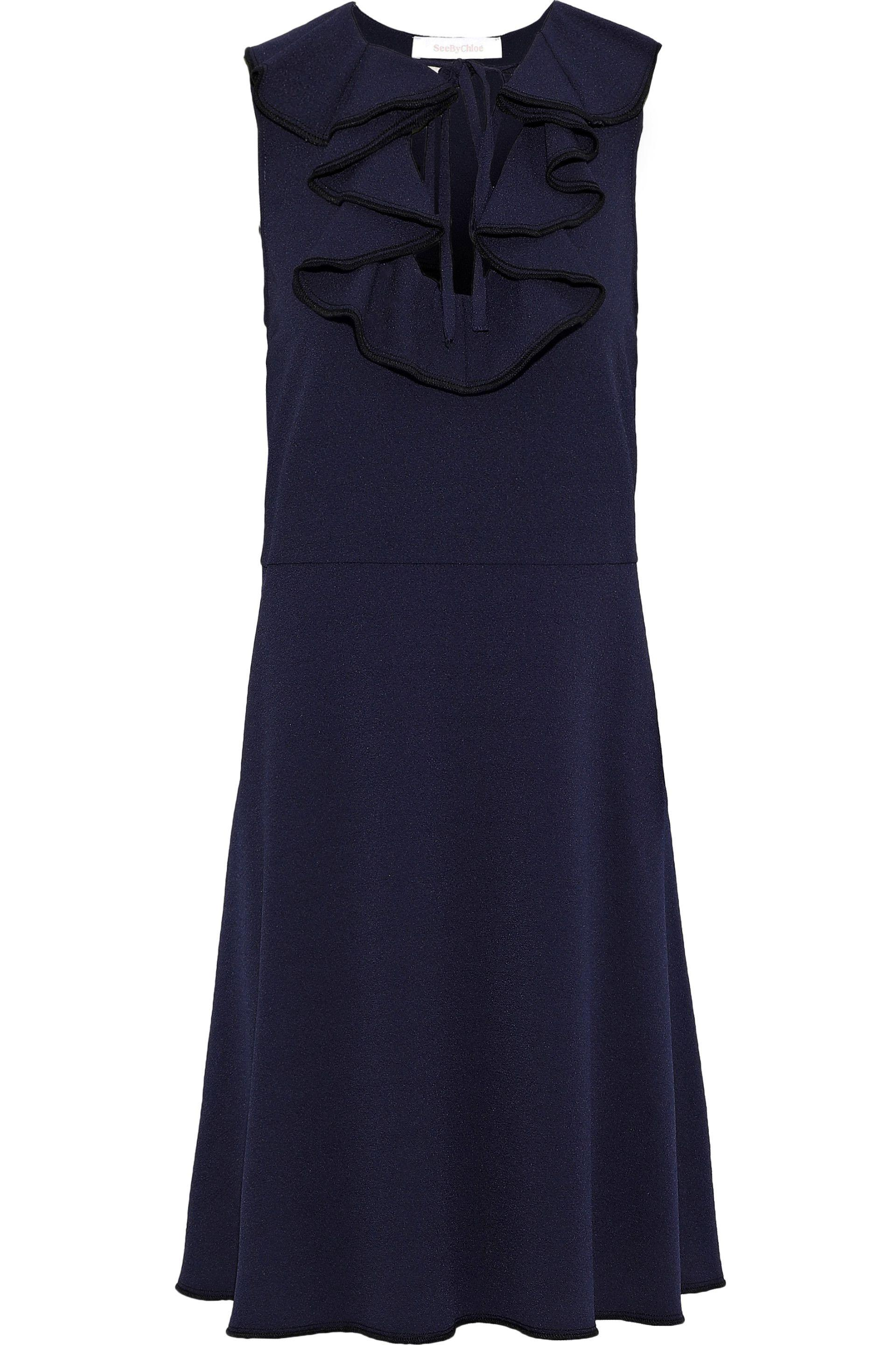 127871ac29 See By Chloé. Women s Blue See By Chloé Woman Ruffle-trimmed Crepe Dress  Navy