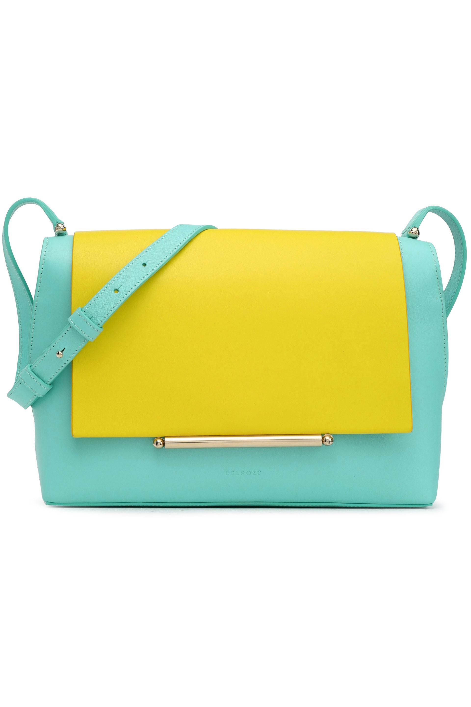 Lyst - Delpozo Woman Bo Leather Shoulder Bag Turquoise in Blue 24ee0d4919fe3