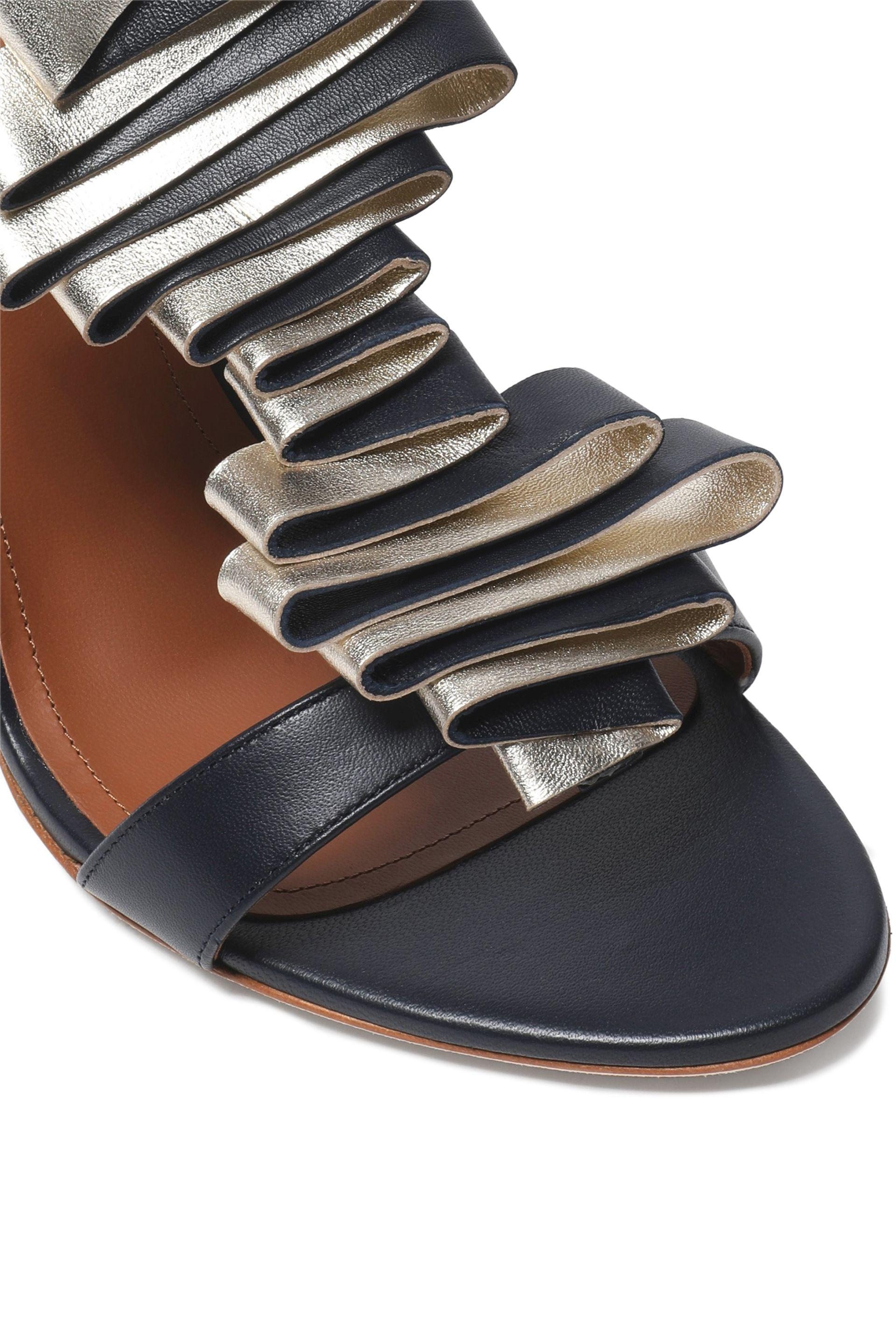 MALONE SOULIERS Leather Sandals with Metallic Ruffles Buy Cheap 2018 Free Shipping Explore Finishline Cheap Online Largest Supplier Buy Cheap Find Great FDttSL7FZM