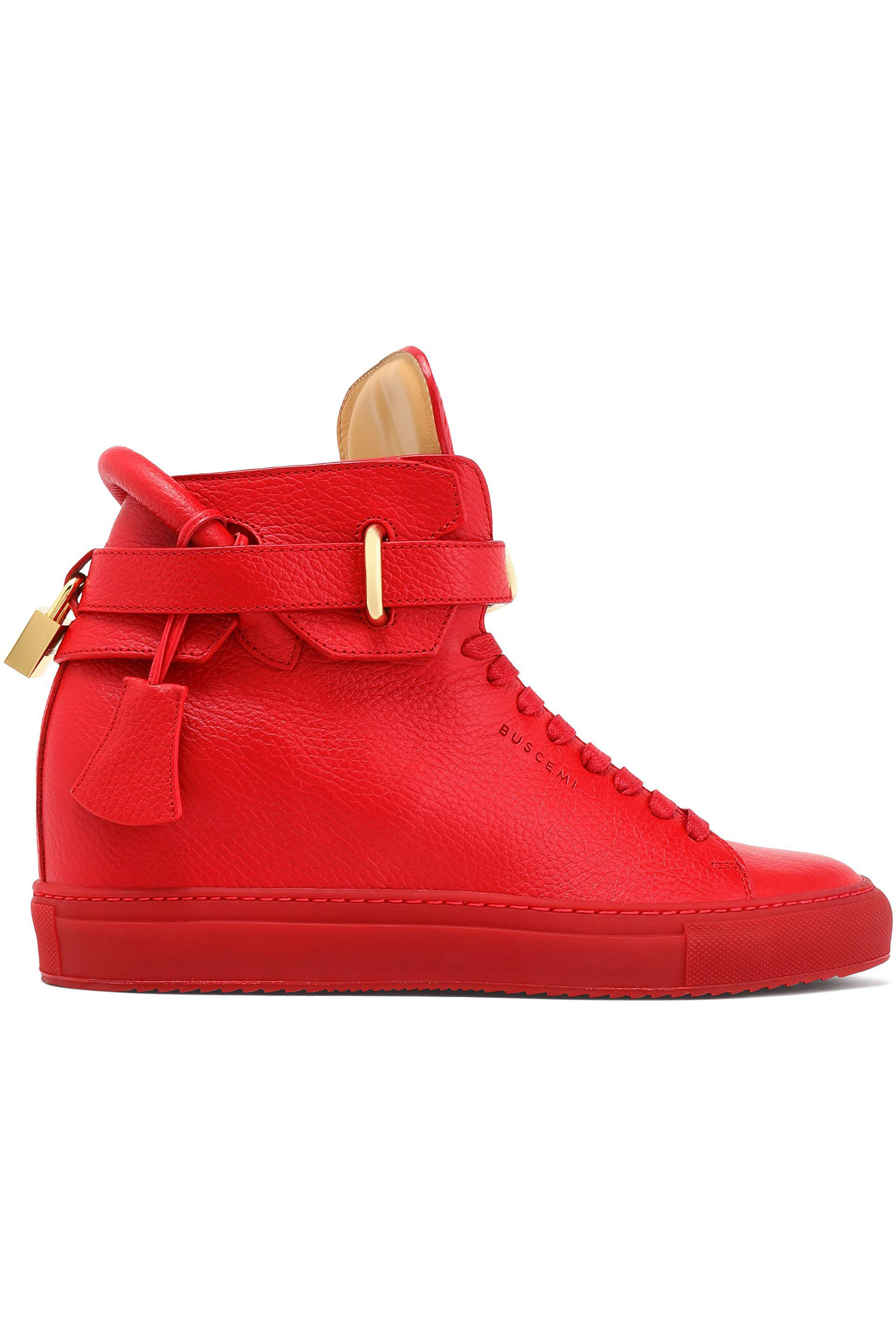 Buscemi Woman Embellished Textured-leather High-top Sneakers Red Size 40 Buscemi X9m6w2fjMS