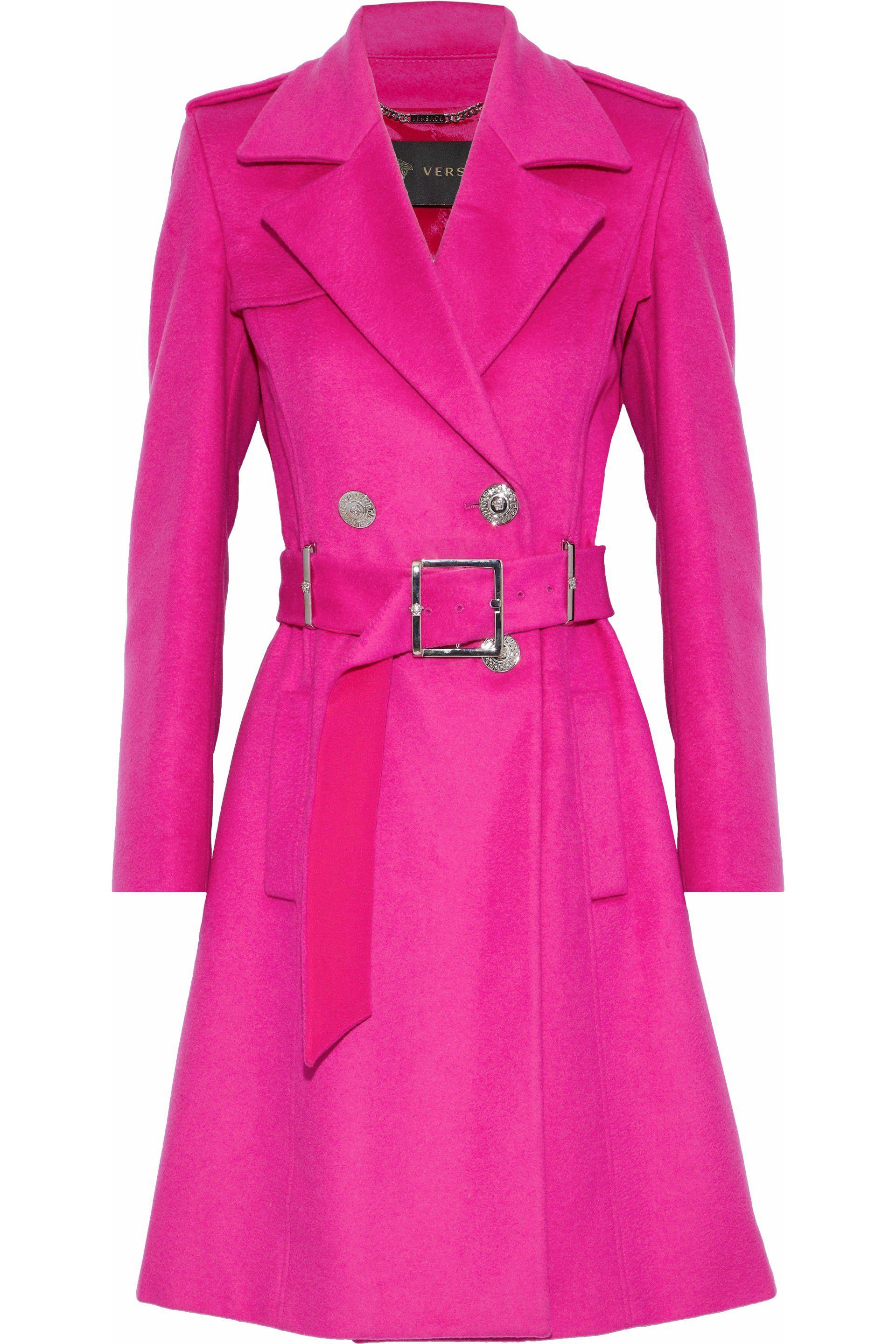 f0a7e28136264 Versace Woman Wool And Cashmere-blend Trench Coat Fuchsia in Pink - Lyst