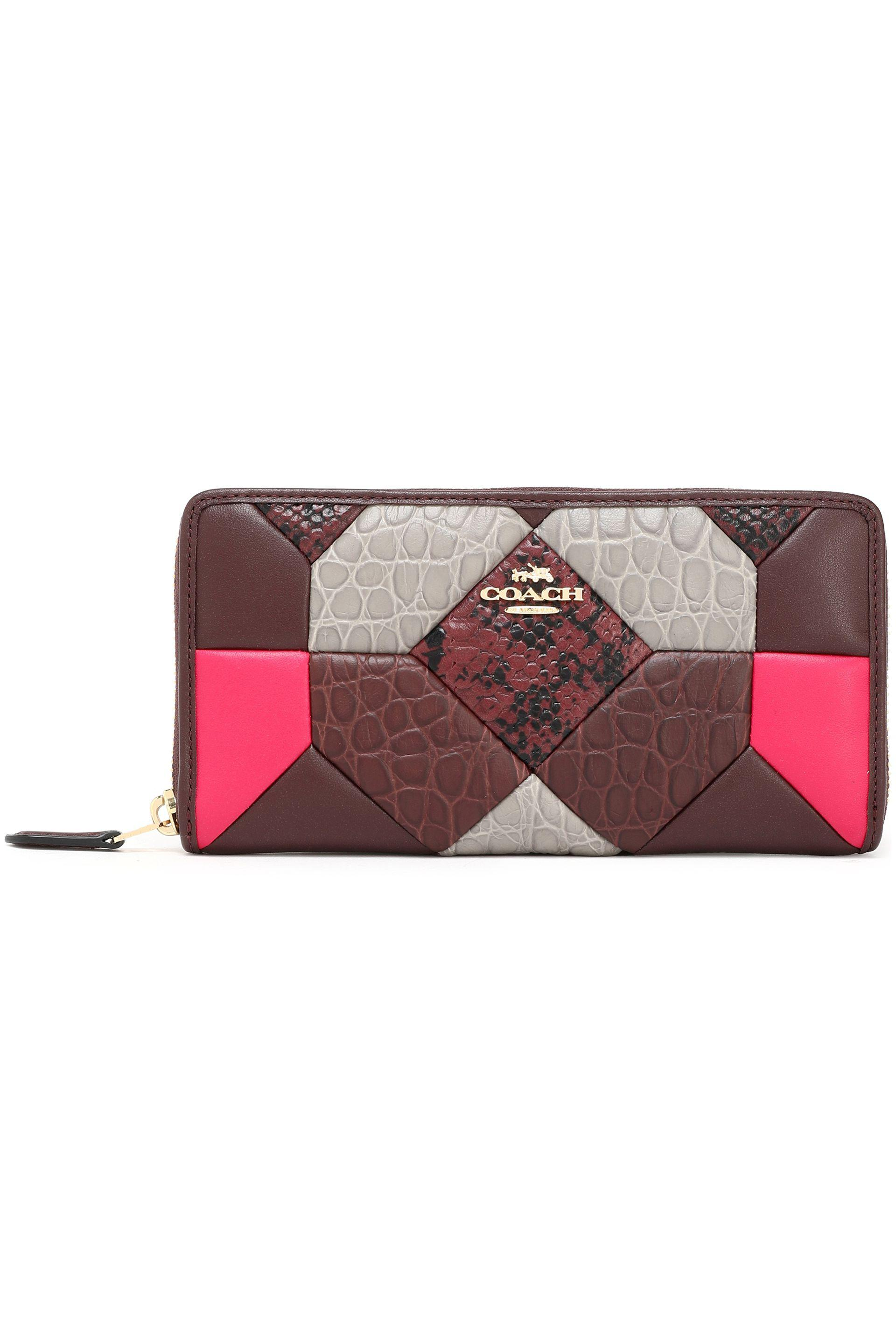 0e874b487f85 COACH Patchwork Smooth And Snake-effect Leather Continental Wallet ...