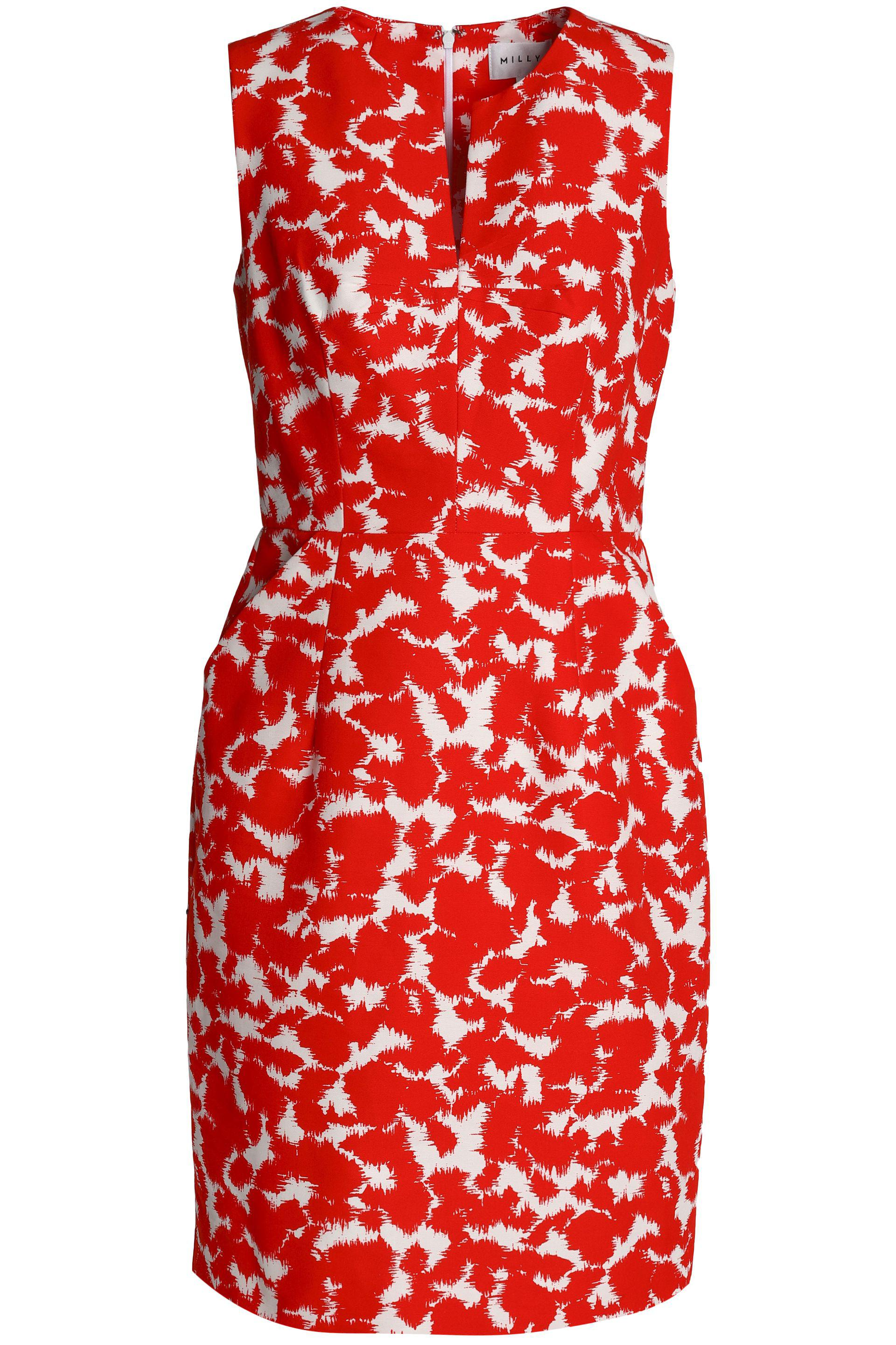 Fast Delivery Online Outlet Shop For Milly Woman Printed Cotton-faille Mini Dress Red Size 8 Milly Fast Delivery Cheap Online 03sCqh