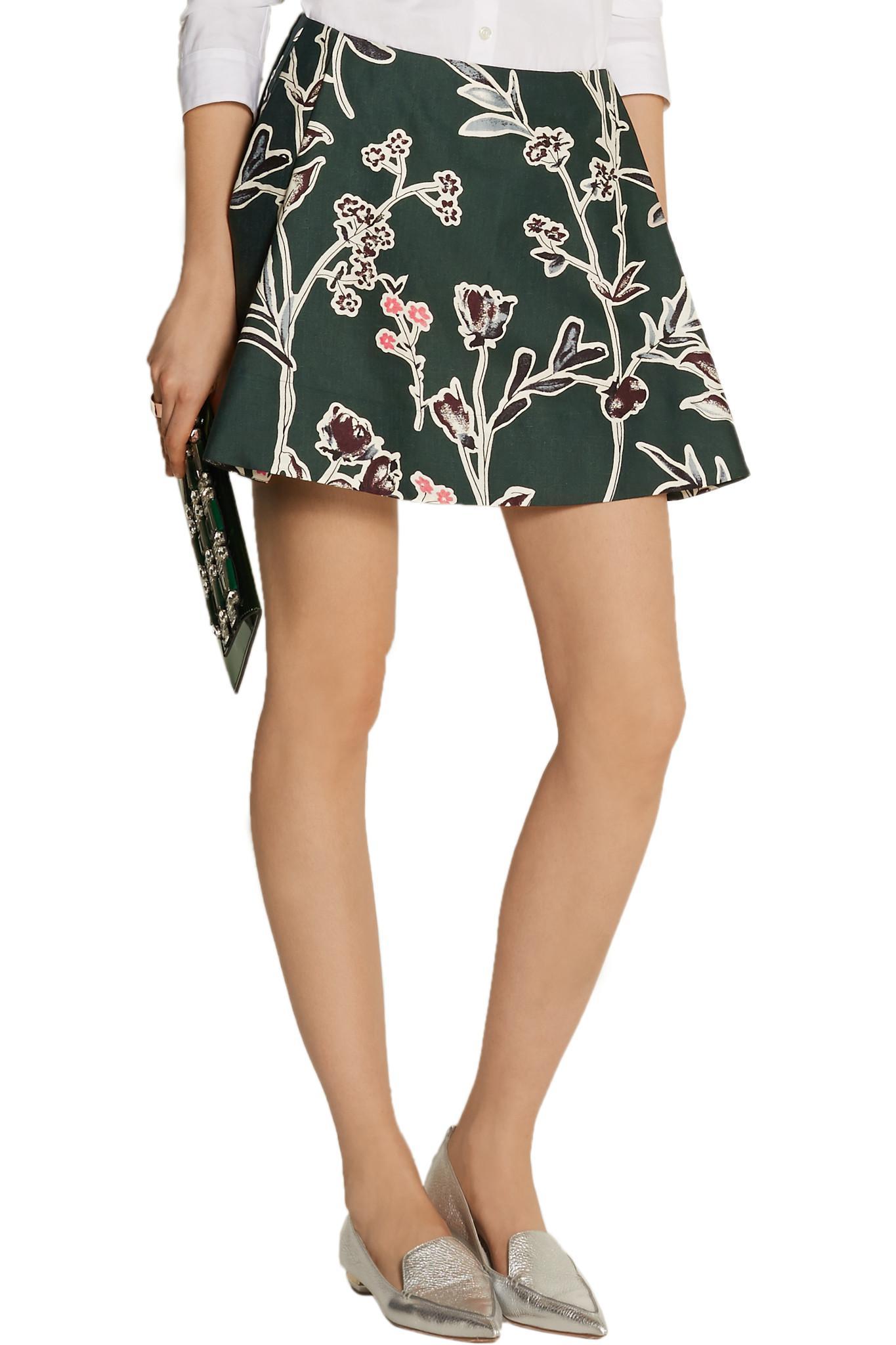 f168c3e97 Marni Floral-print Cotton And Silk-blend Mini Skirt - Lyst
