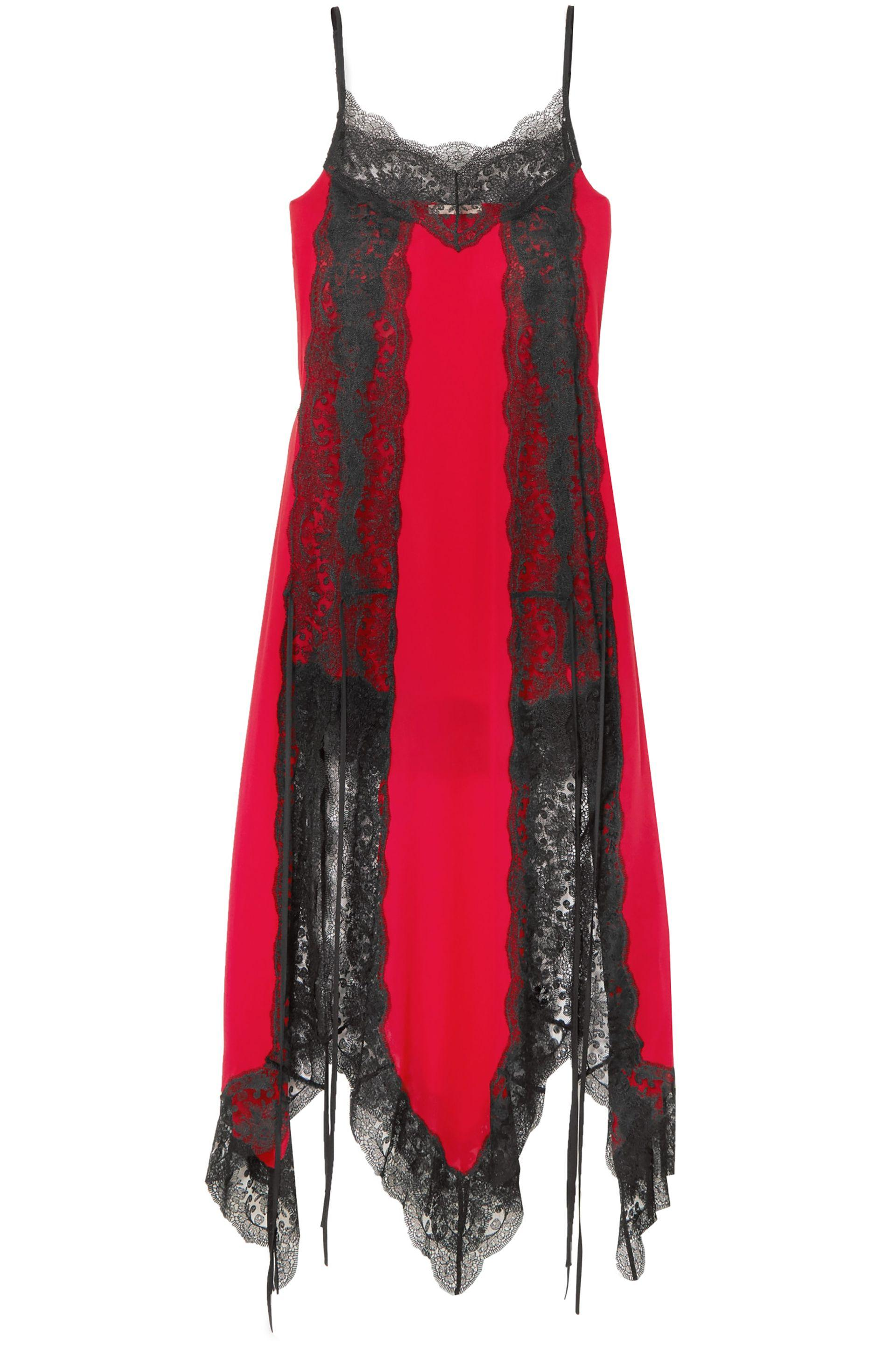 54ea64ec00ac Christopher Kane Woman Lace-trimmed Silk-chiffon Dress Red in Red ...