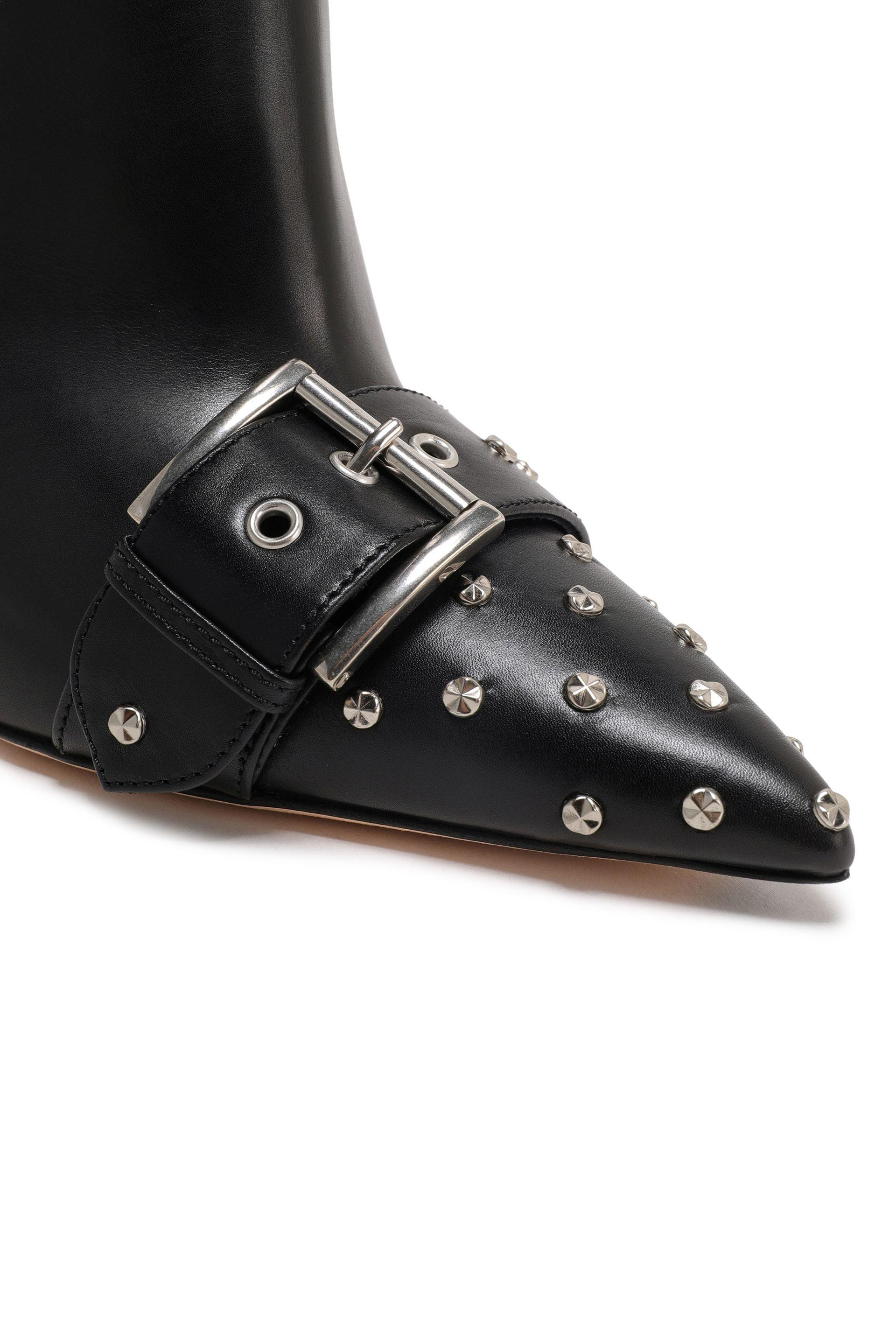 Alexander McQueen Fringed Studded Leather Ankle Boots Black