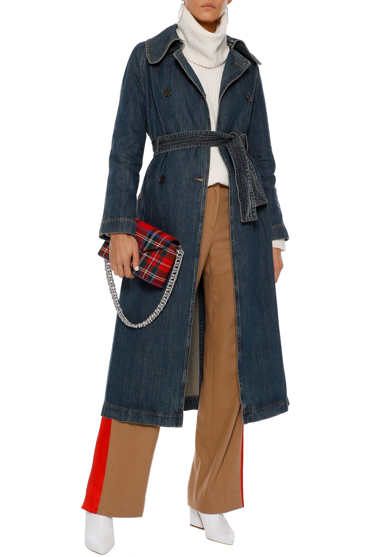 5abfb2055da Lyst - ALEXACHUNG Woman Denim Trench Coat Mid Denim in Blue