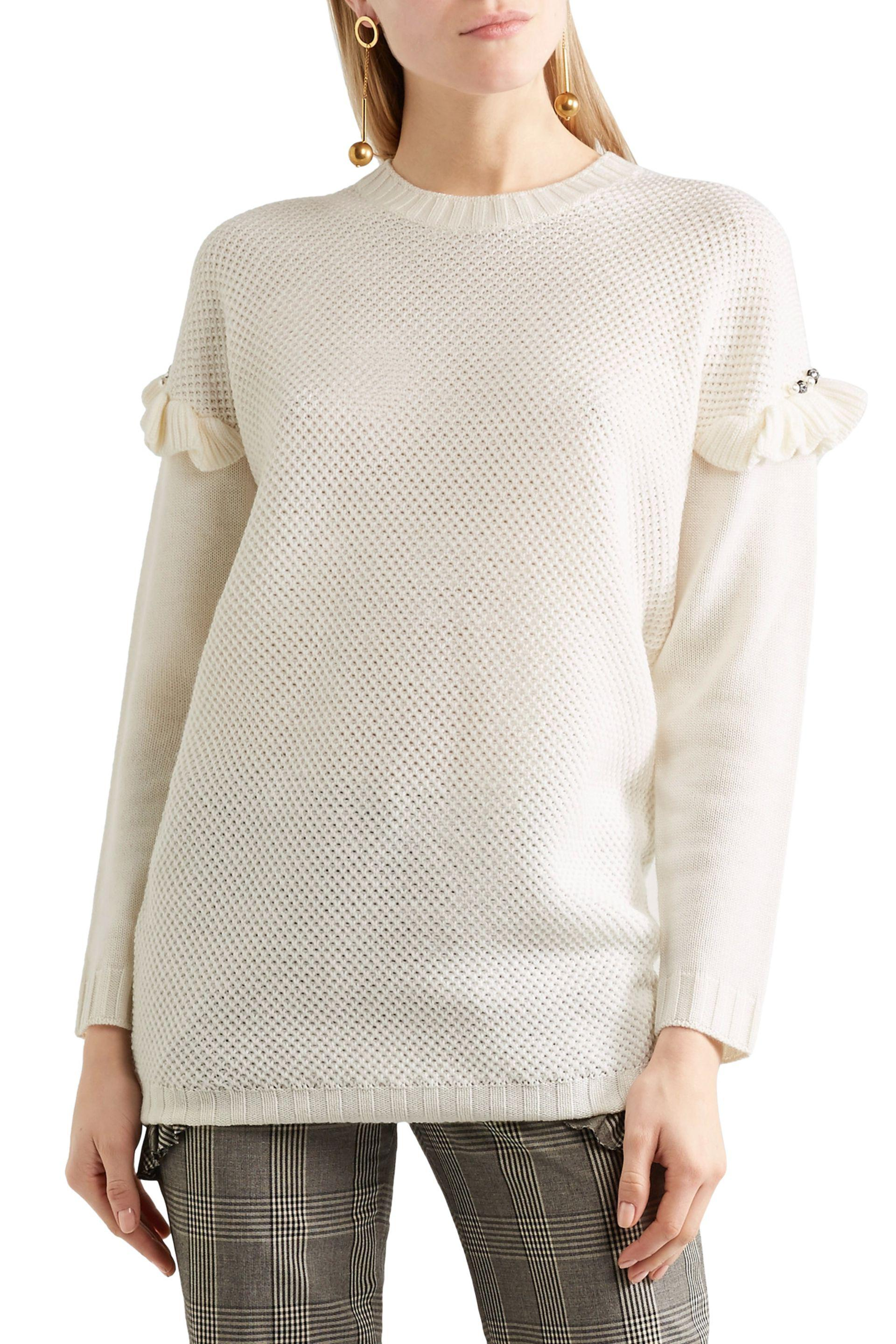 Mother Of Pearl - White Freda Embellished Ruffle-trimmed Waffle-knit Wool- blend. View Fullscreen