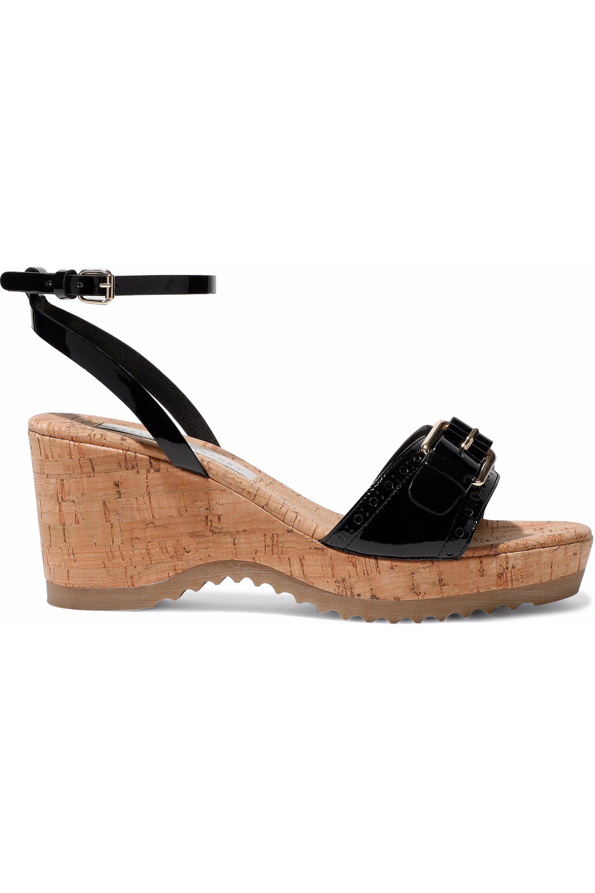 61d0c8e326670 Stella McCartney Buckled Faux Patent-leather And Cork Wedge Sandals ...