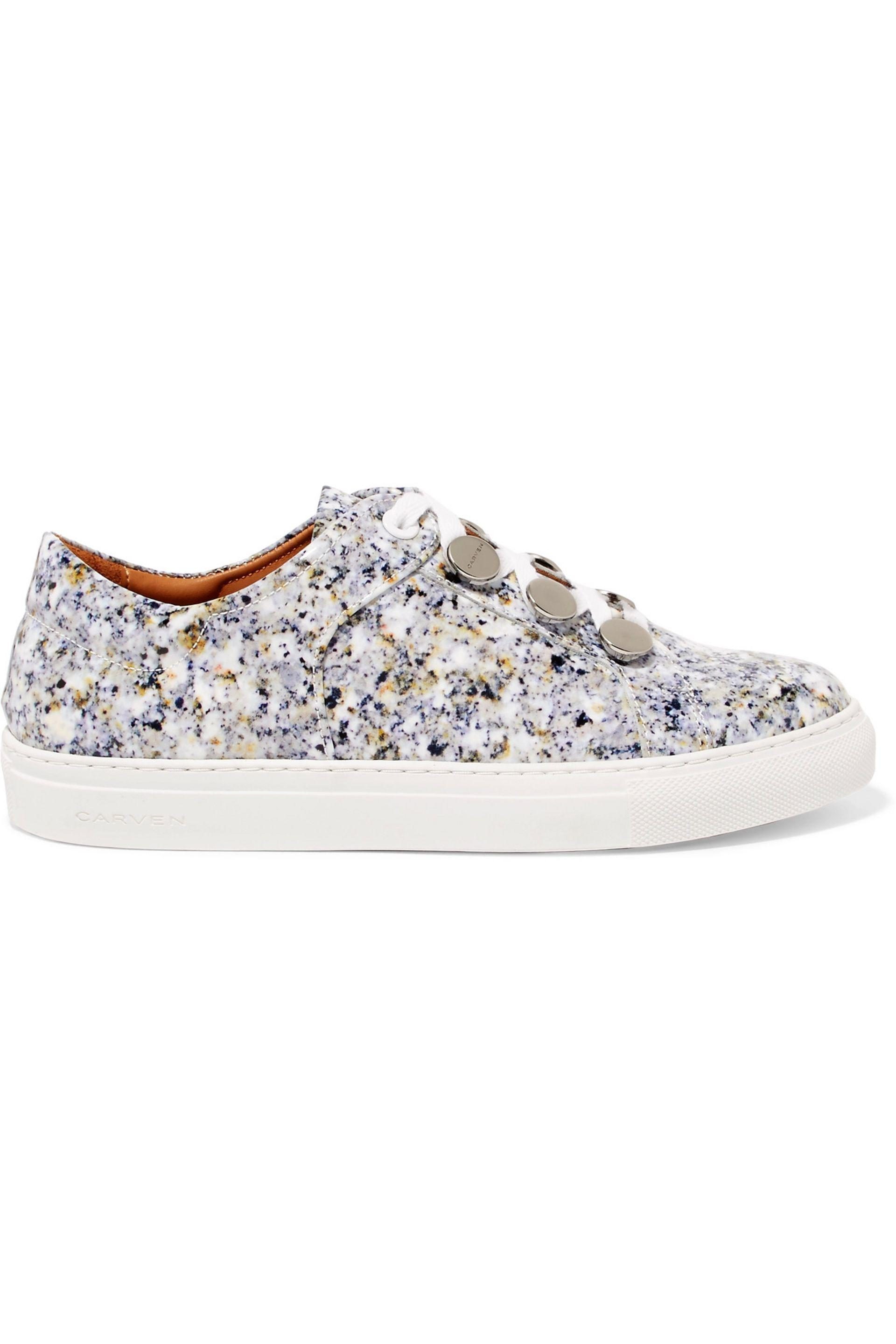 Carven. Women's Resonance Printed Patent-leather Trainers