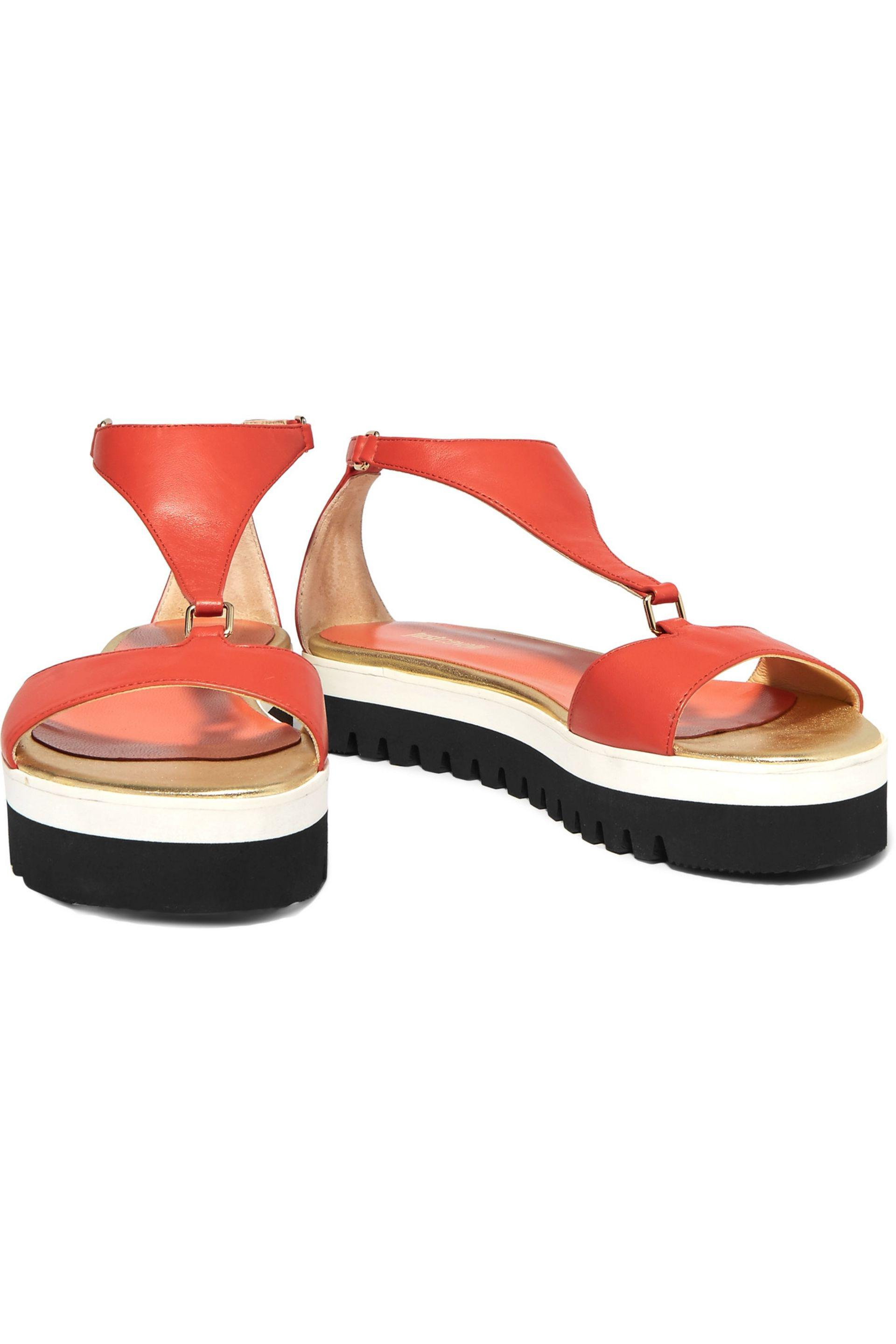 Just Cavalli Woman Leather Platform Sandals Tomato Red Size 40 Just Cavalli Clearance Cheap Real Free Shipping Discount iZ5kJqBI7G