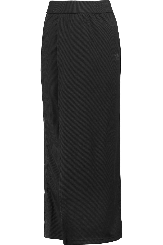 17347e8600ad6 adidas Originals Striped Ribbed Stretch-jersey Wrap-effect Maxi ...