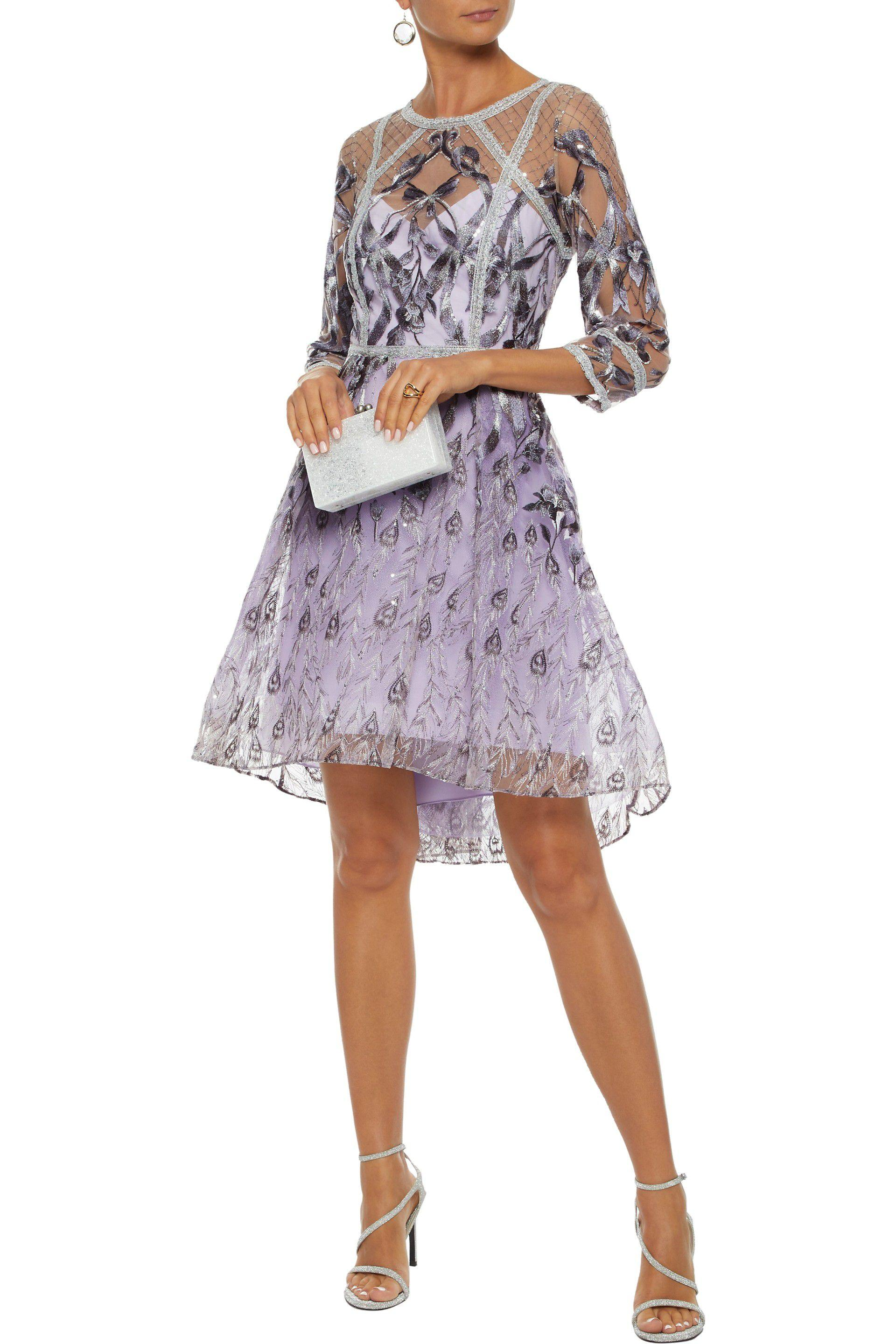 0b6c62ec Tap to visit site. Marchesa notte - Purple Woman Sequin-embellished  Metallic Embroidered Tulle Dress Lilac ...