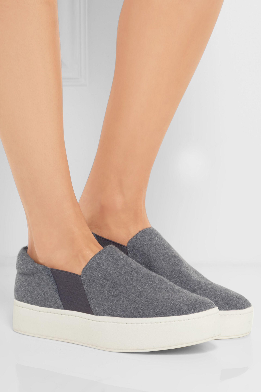 a3820425ee1ab Vince Warren Felt Slip-on Sneakers in Gray - Lyst