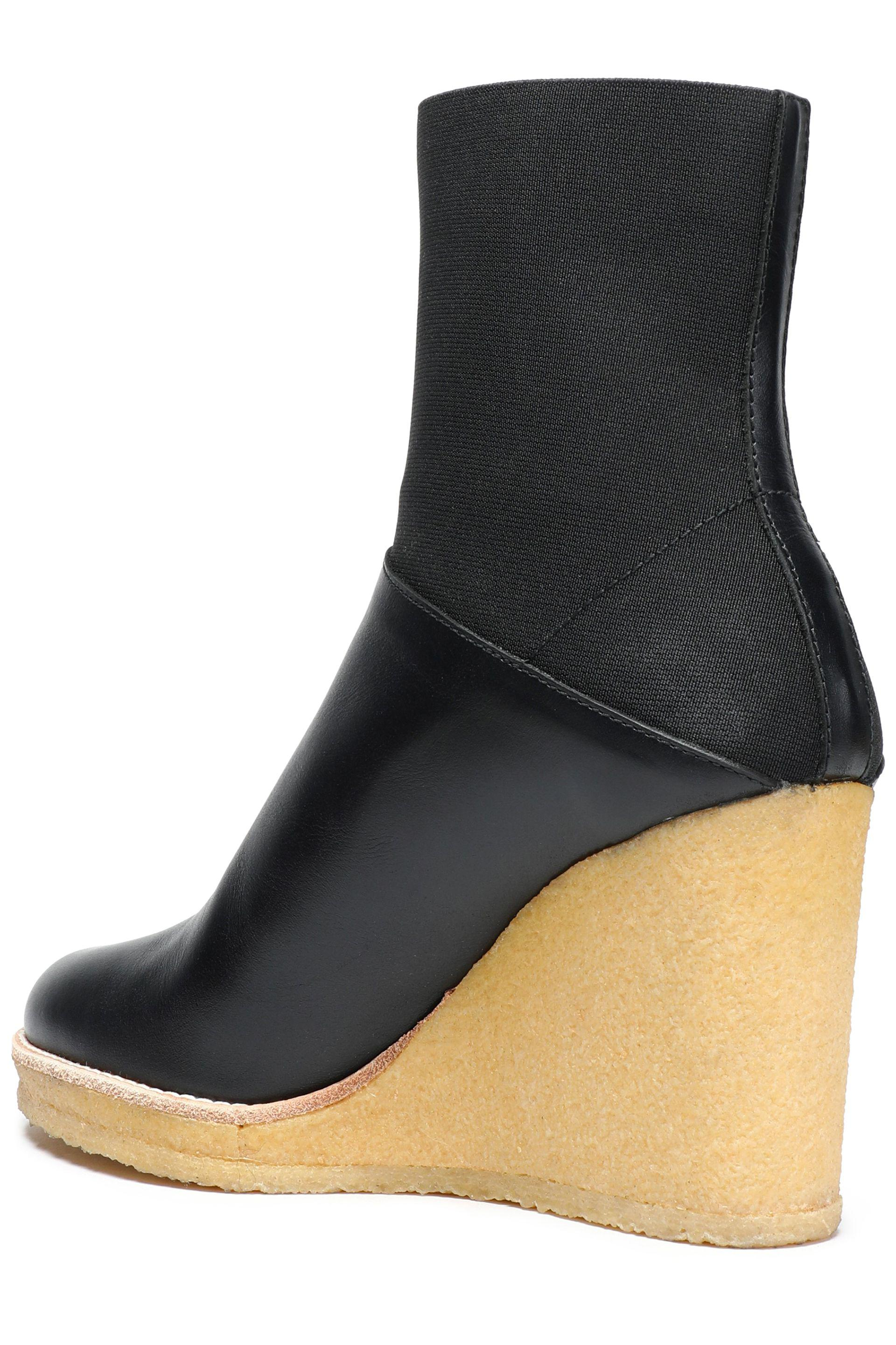 Castaner Paneled Leather And Stretch-knit Wedge Ankle Boots in Black