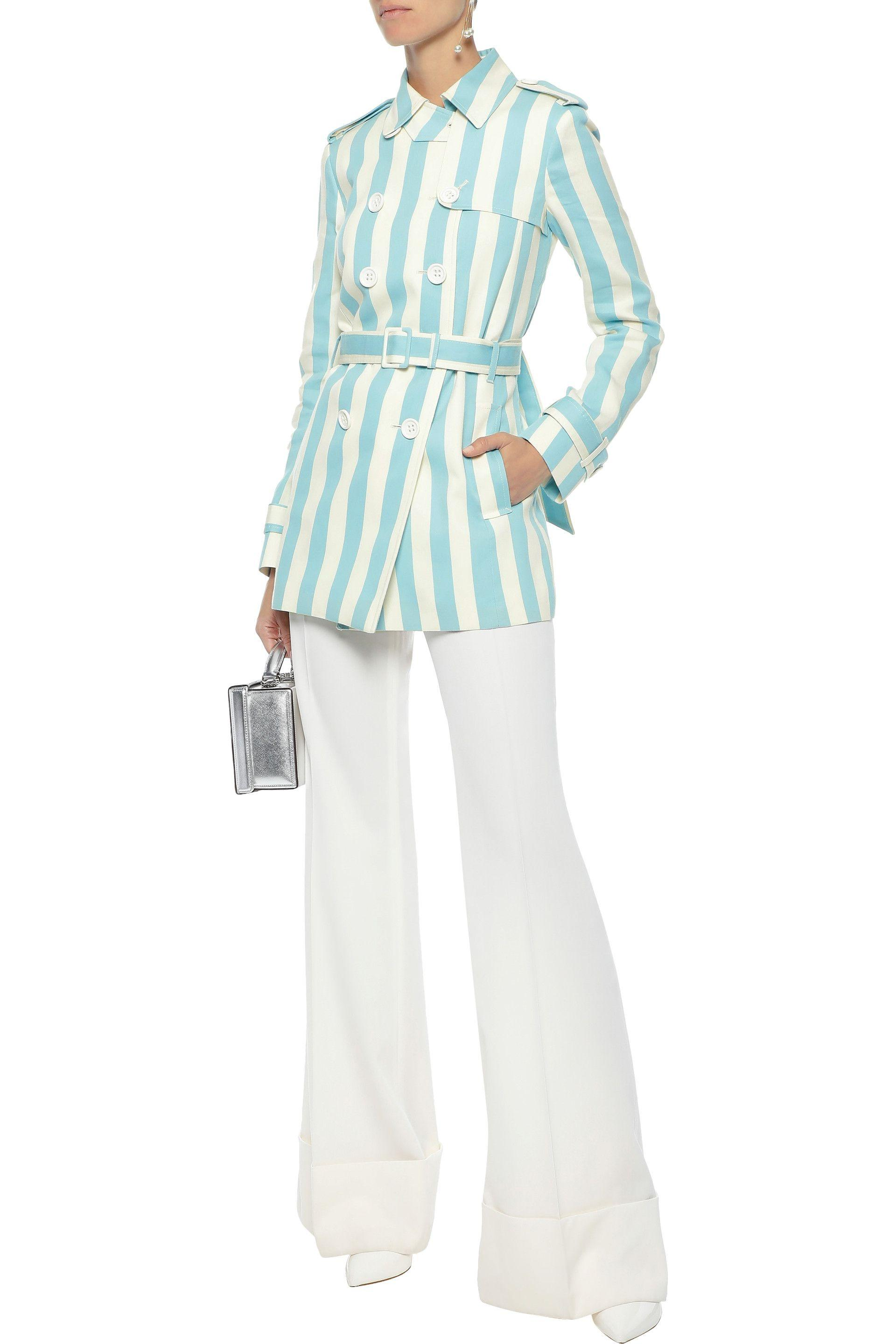 d4be1f4eef9 RED Valentino - Woman Striped Cotton And Silk-blend Gabardine Trench Coat  Sky Blue -. View fullscreen