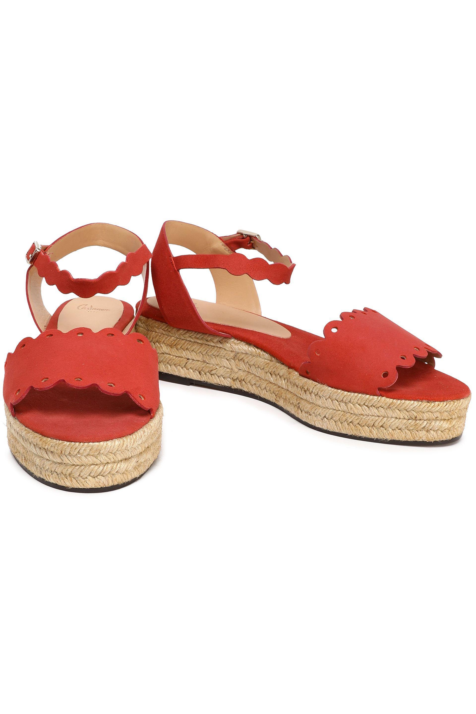 7c5ddfe88fa Castaner Pink Castañer Woman Ana Scalloped Suede Espadrille Platform  Sandals Antique Rose
