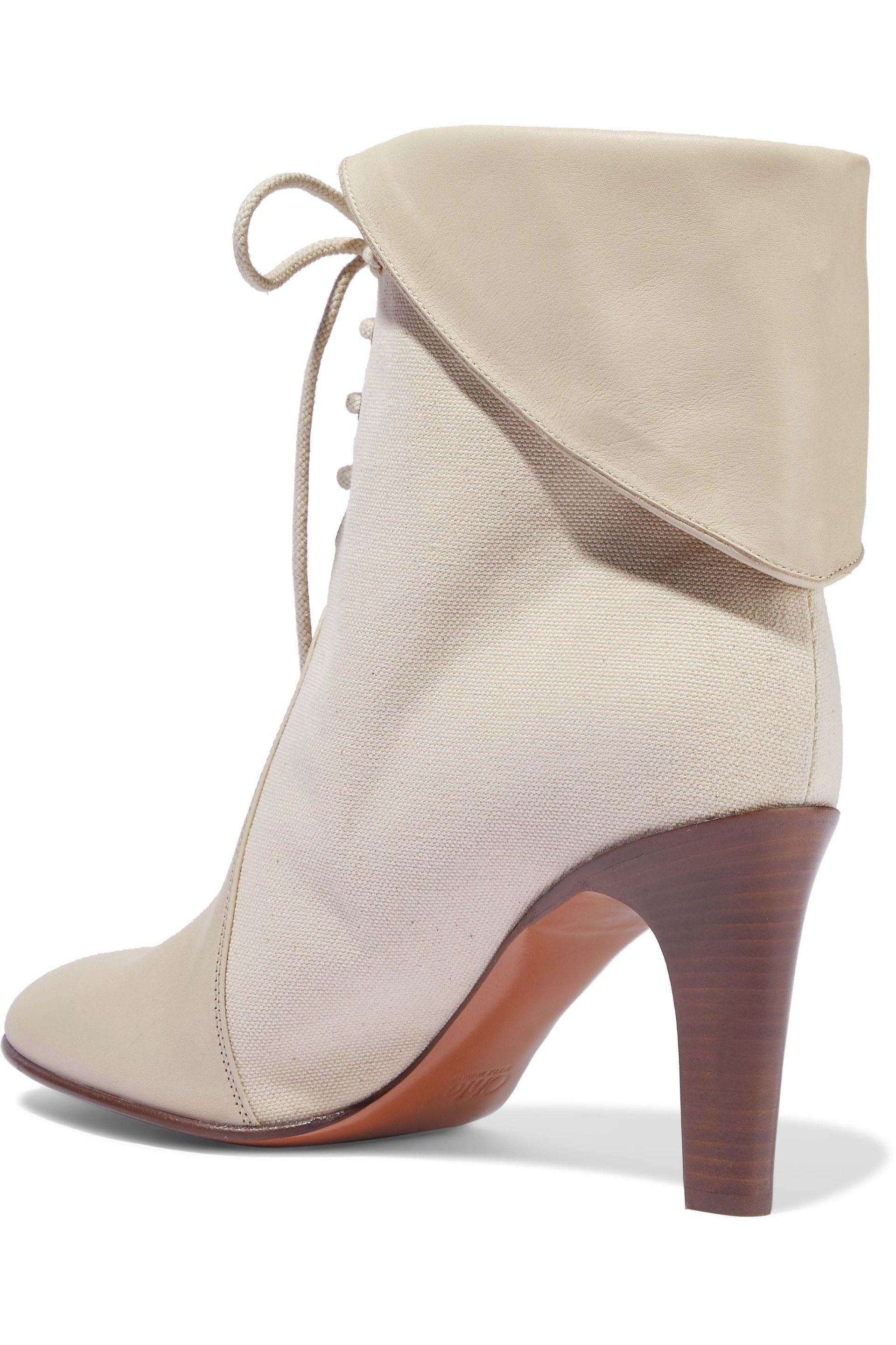 ca2bf76a8f Chloé Chloé Woman Kole Leather-paneled Canvas Ankle Boots Ecru in ...