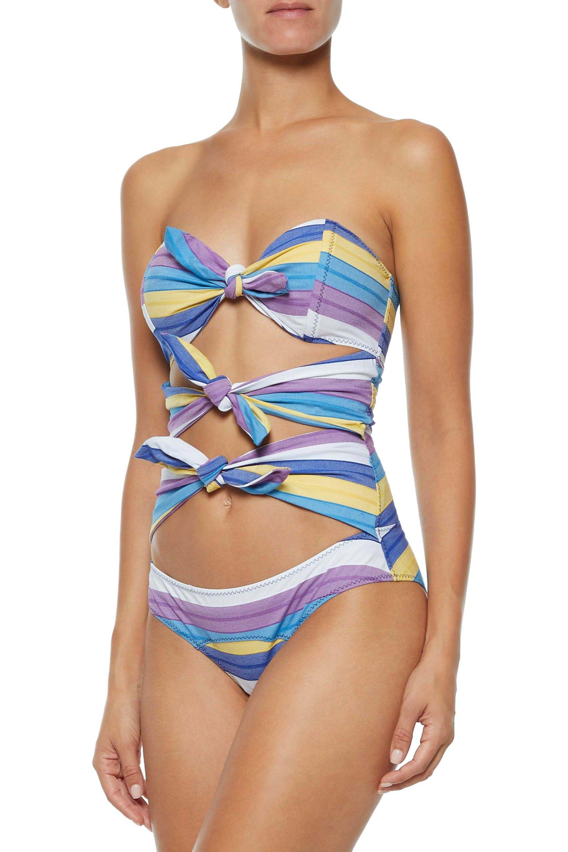 553c552d3b529 Lisa Marie Fernandez - Blue Woman Triple Poppy Knotted Striped  Stretch-cotton Swimsuit Lavender -. View fullscreen