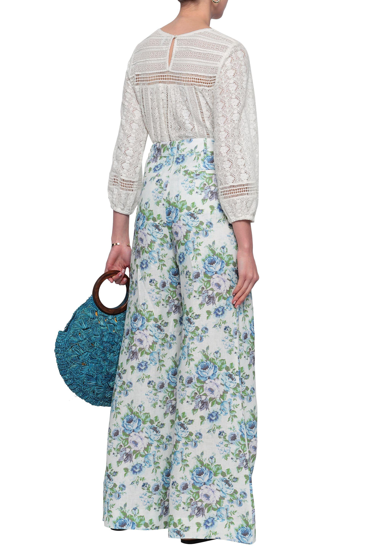 Zimmermann Floral print Linen Wide leg Pants White   Lyst