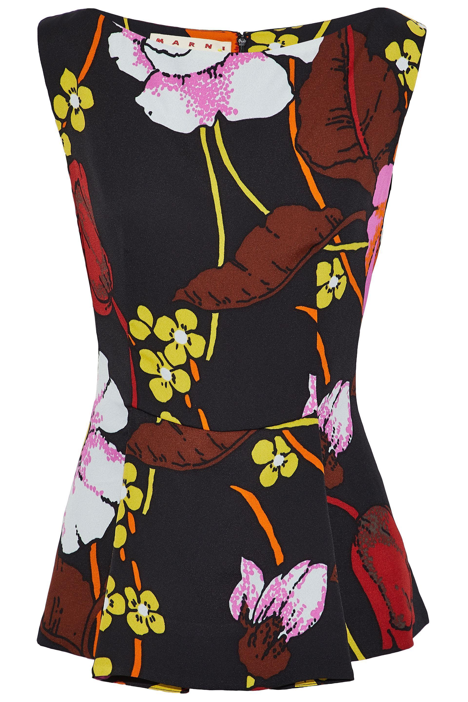 1550a6003407a Lyst - Marni Floral-print Crepe Peplum Top in Black