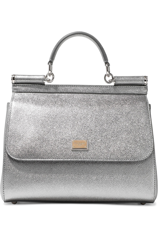 332c17e45ac1 Dolce   Gabbana. Women s Woman Metallic Textured-leather Shoulder Bag Silver